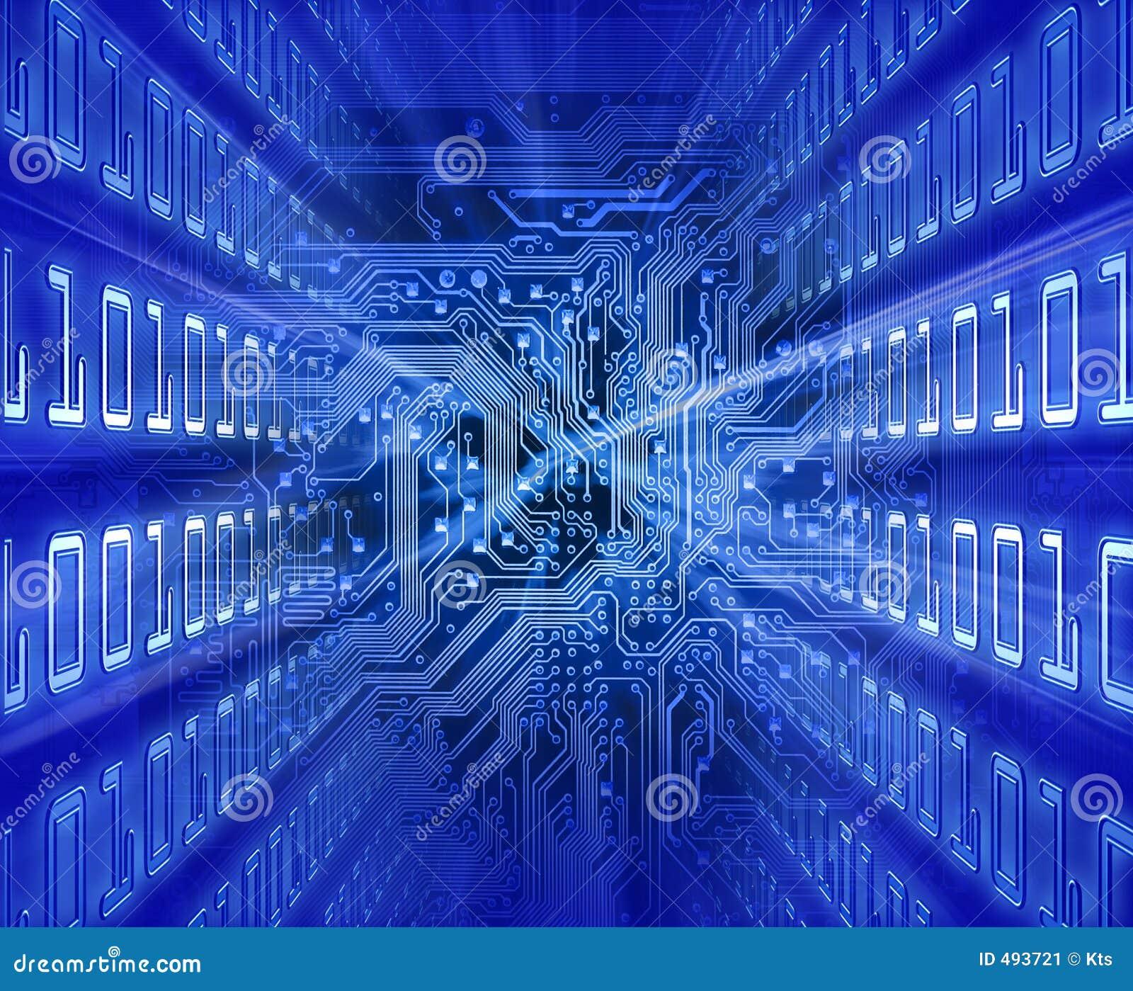 Circuito X : Tarjeta de circuitos energía azul stock ilustración