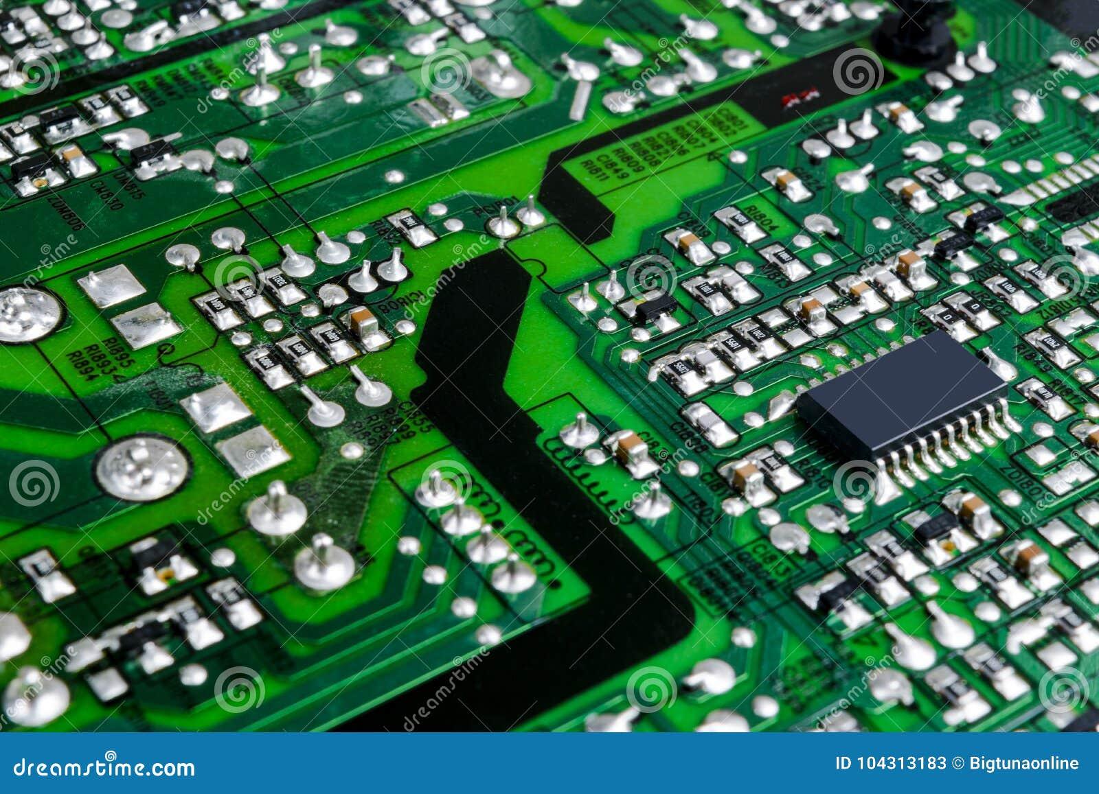 Tarjeta de circuitos Tecnología electrónica del hardware Microprocesador digital de la placa madre Fondo de la ciencia de la tecn