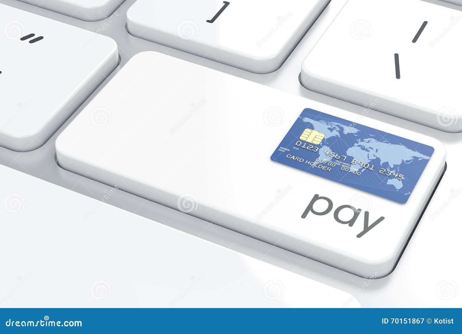 Tarjeta de crédito en el teclado de ordenador De la paga botón co del ordenador ahora