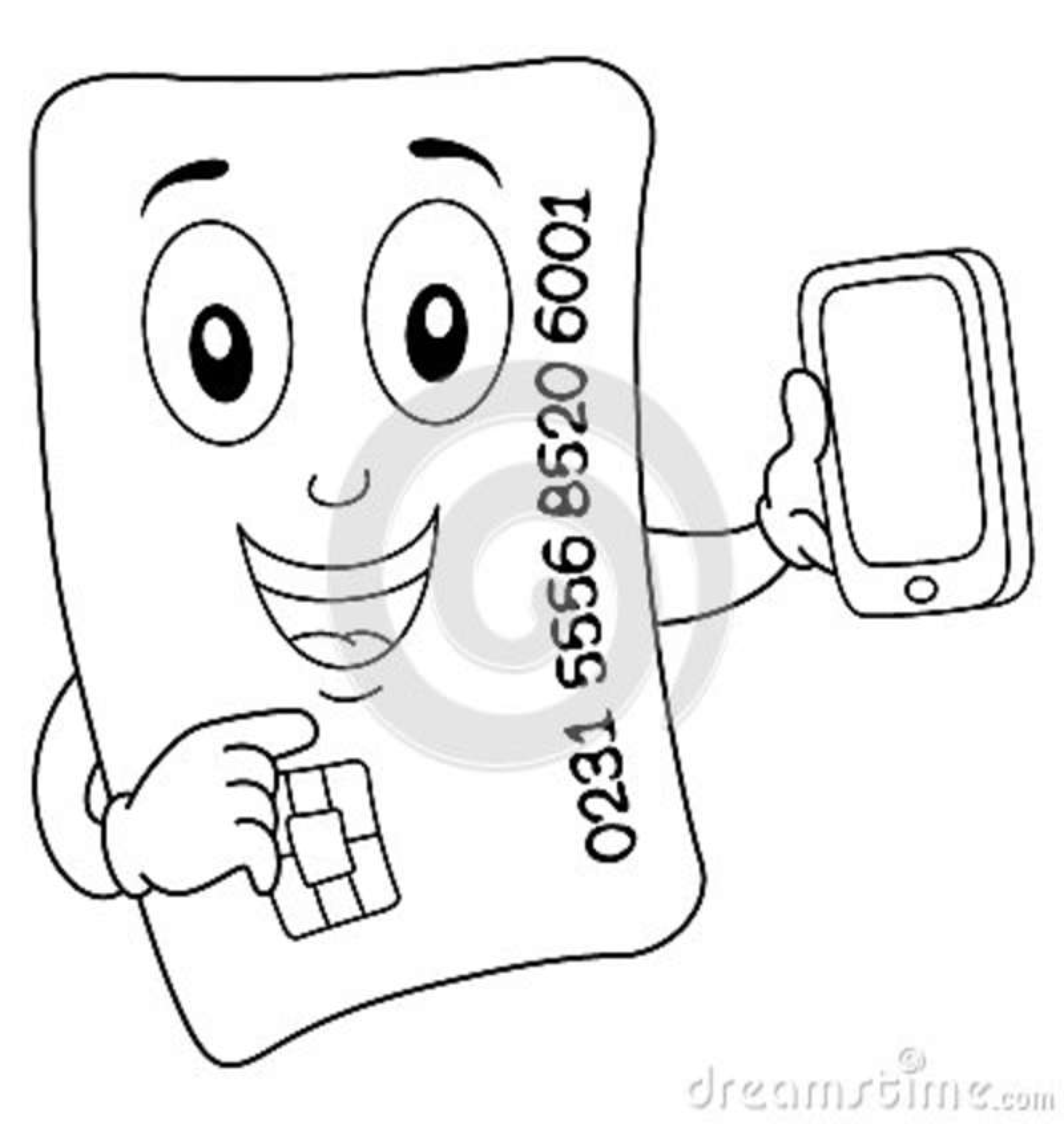 Tarjeta De Crédito Feliz Que Colorea Con El Teléfono Celular