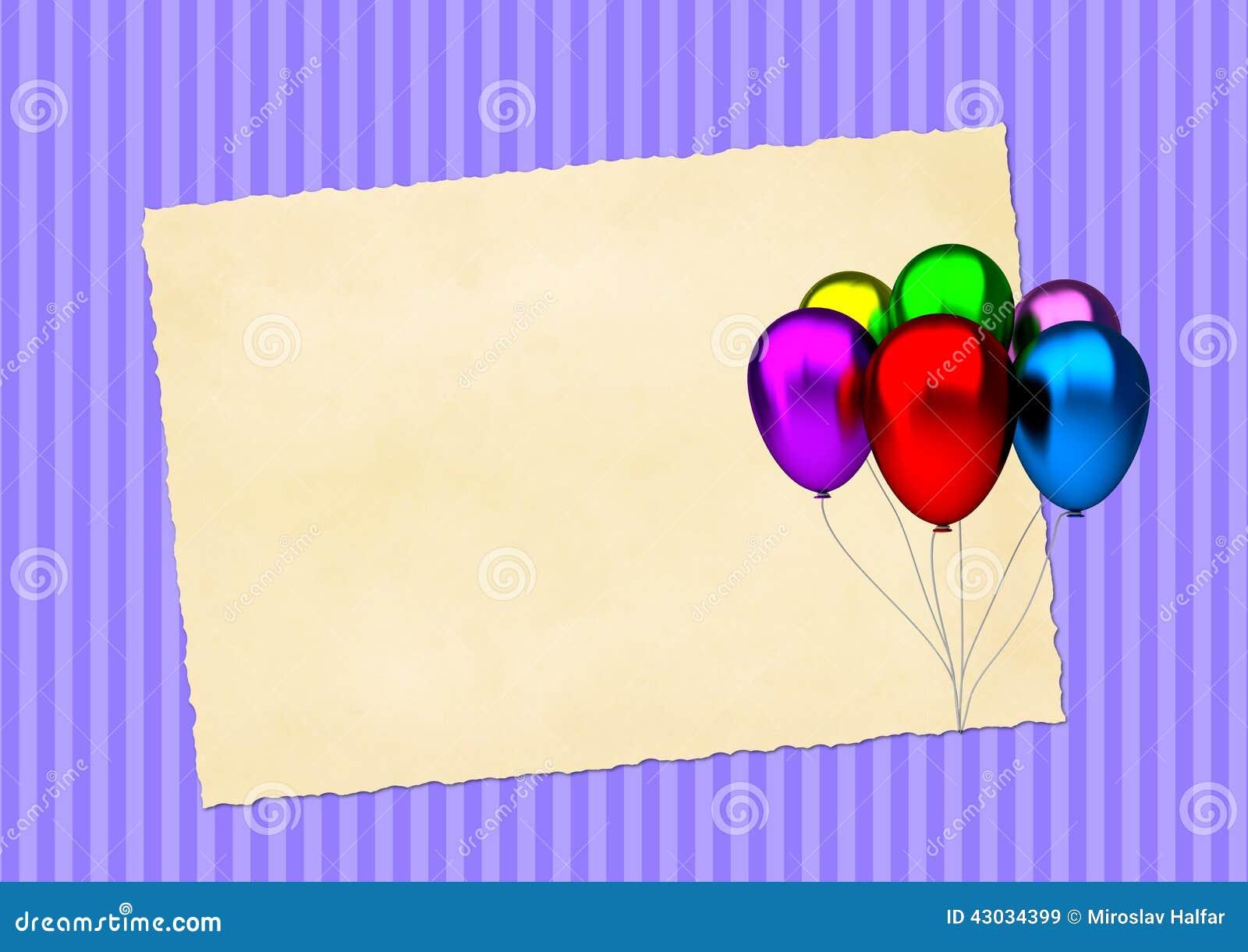 Tarjeta de cumpleaños con los globos coloridos del partido y el papel en blanco del vintage