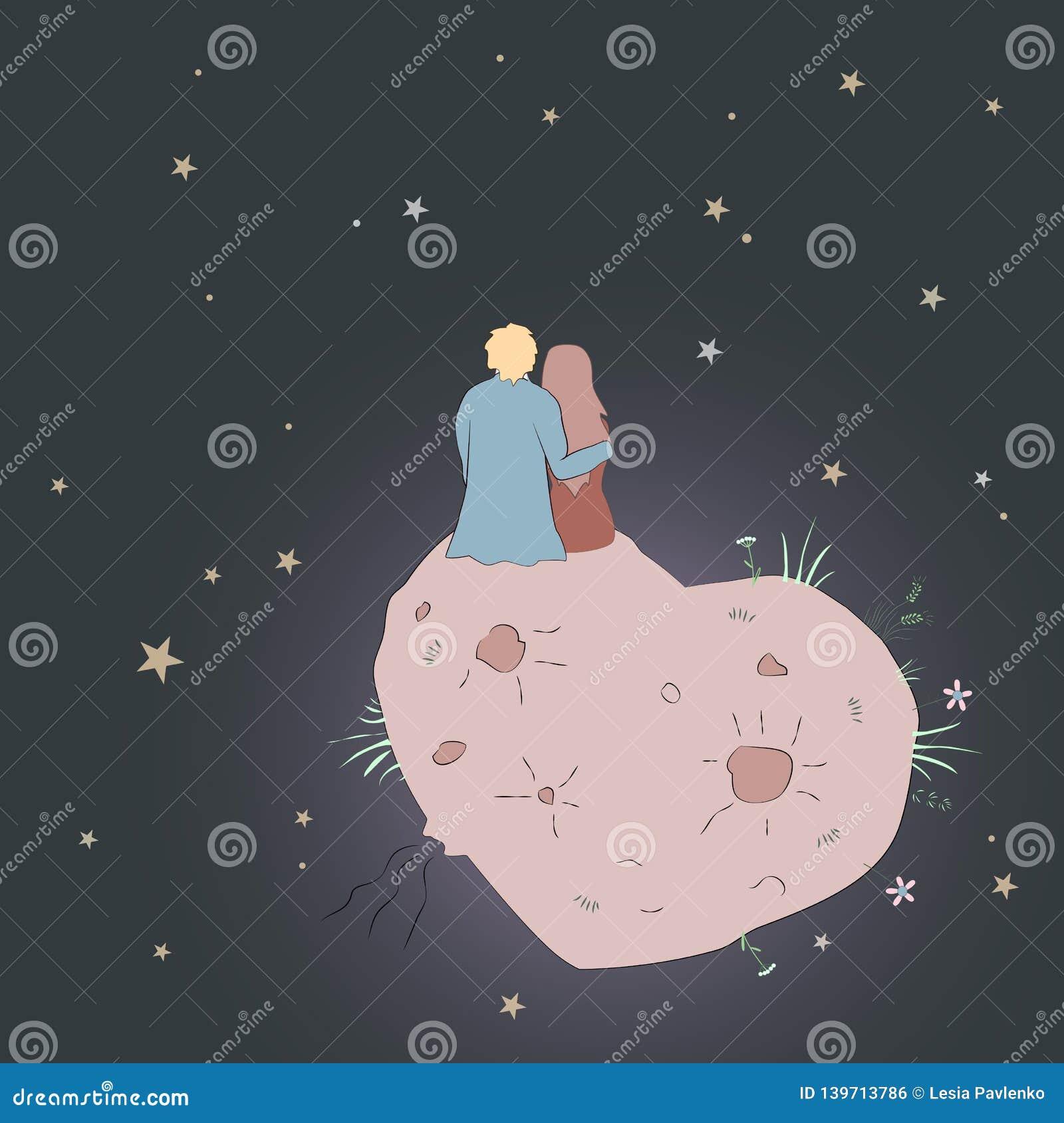 Tarjeta de día de San Valentín con la muchacha y el individuo que miran la estrella pares del amor de s en cosmos en el planeta d