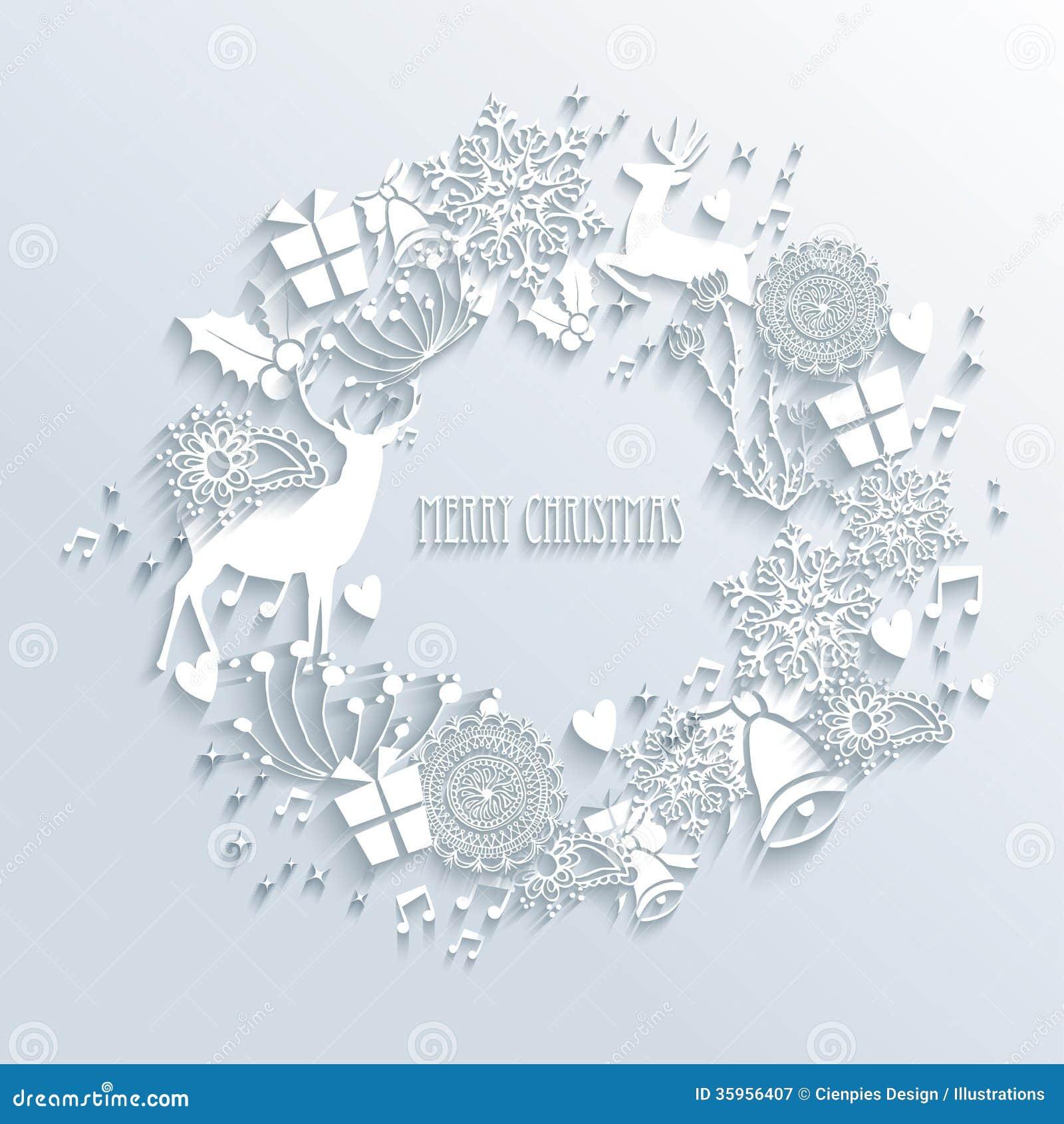 Tarjeta de felicitación blanca de la guirnalda de la Feliz Navidad