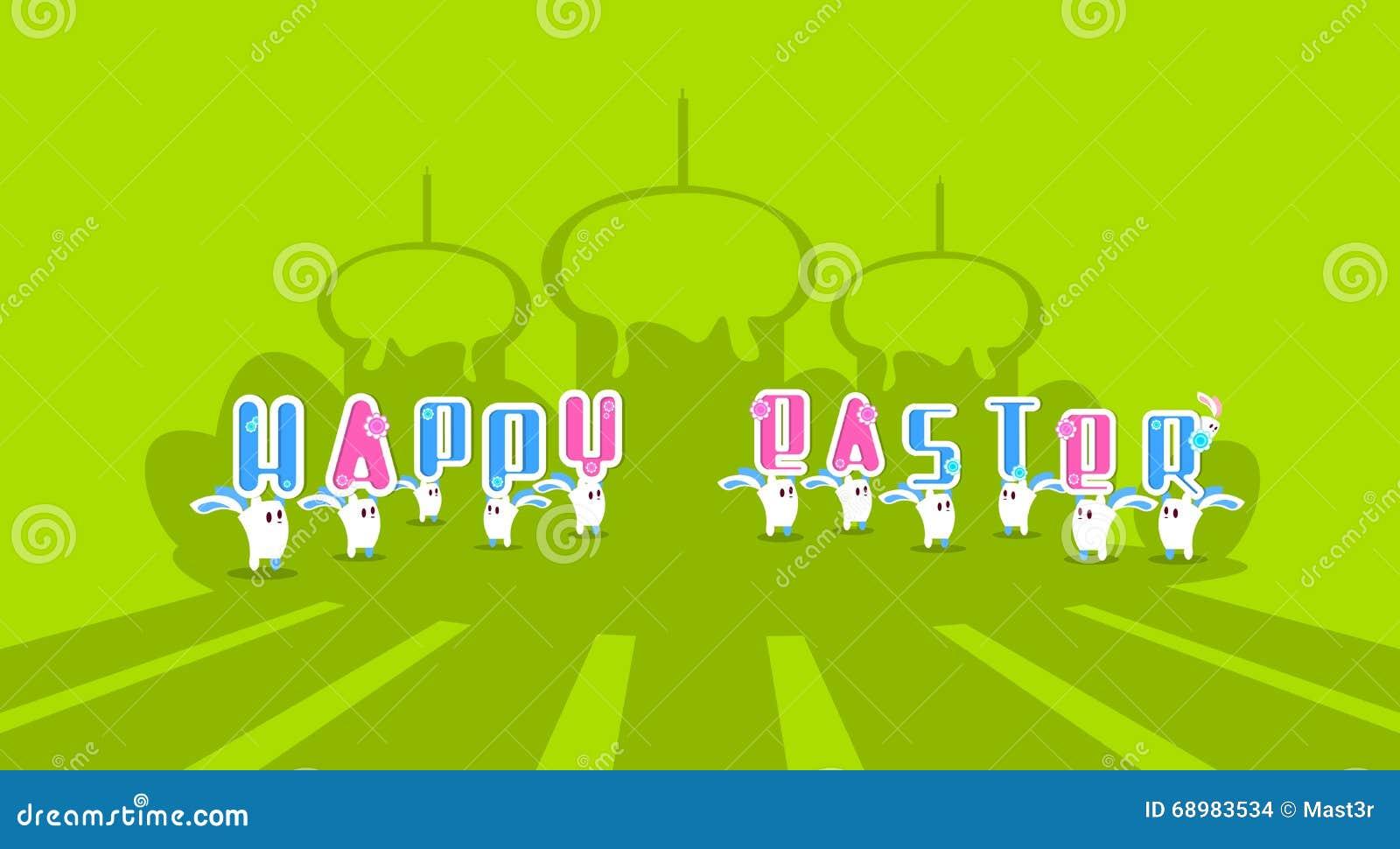 Tarjeta de felicitación colorida Pascua del conejo de la bandera feliz del día de fiesta de Bunny Hold Cake With Candle