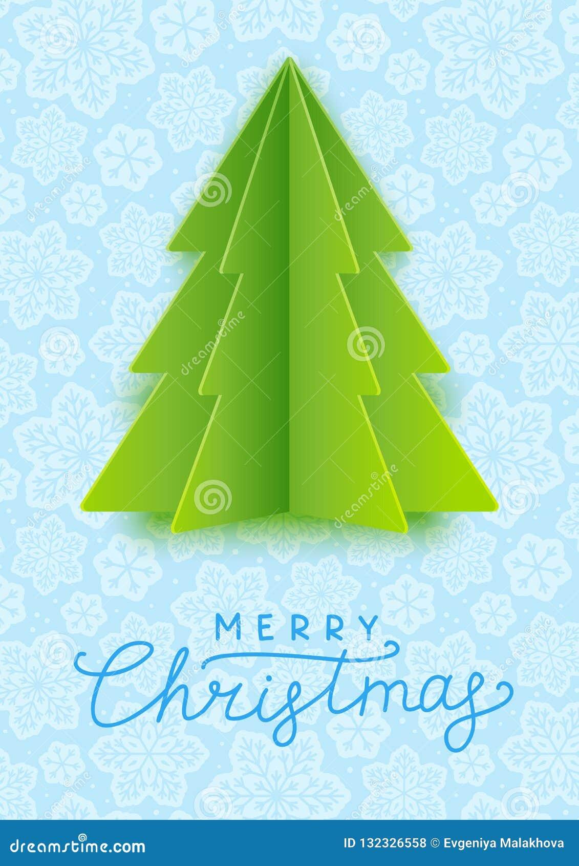 Tarjeta de felicitación con el árbol de navidad de papel