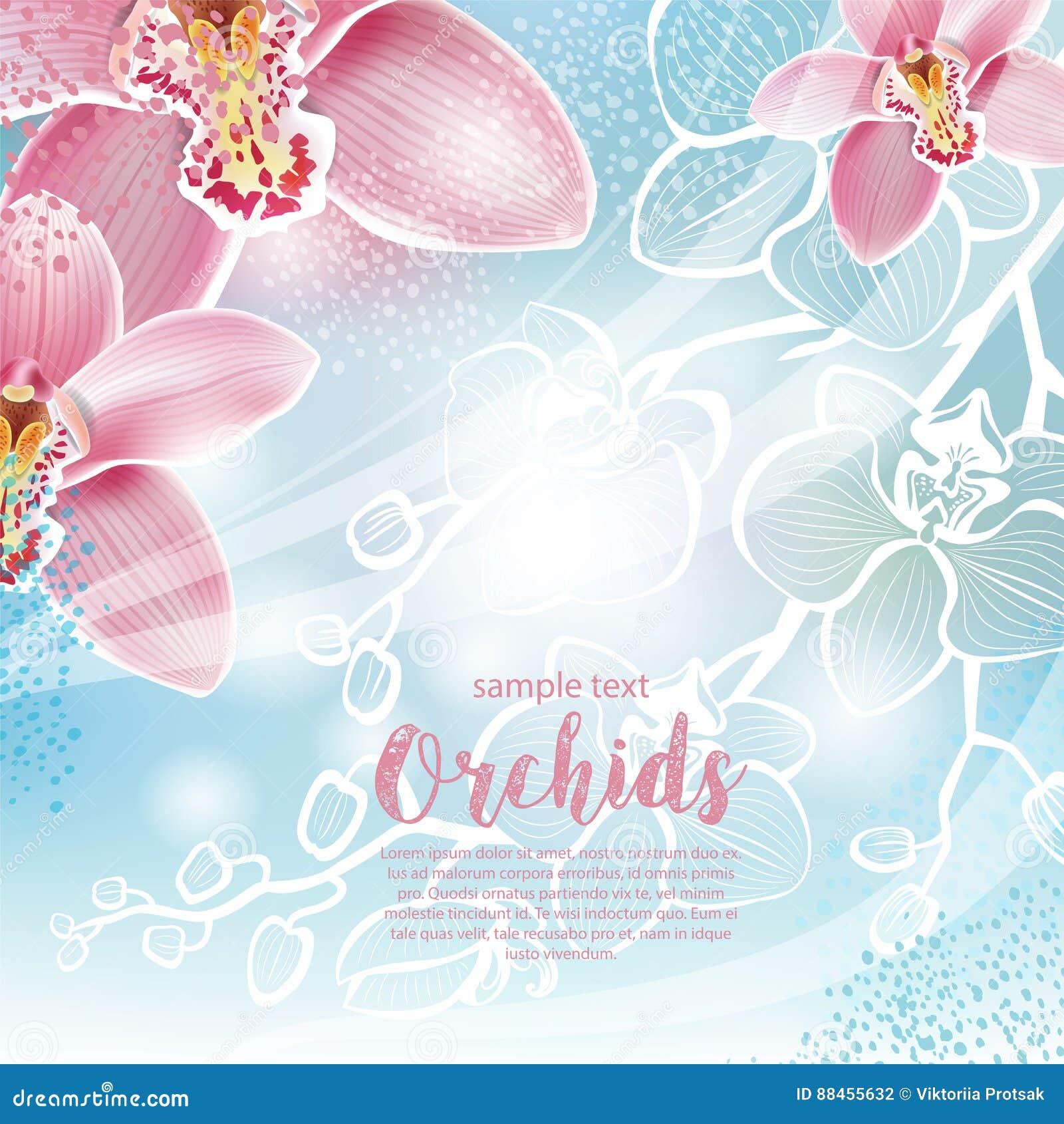 Tarjeta de felicitación con las flores de las orquídeas