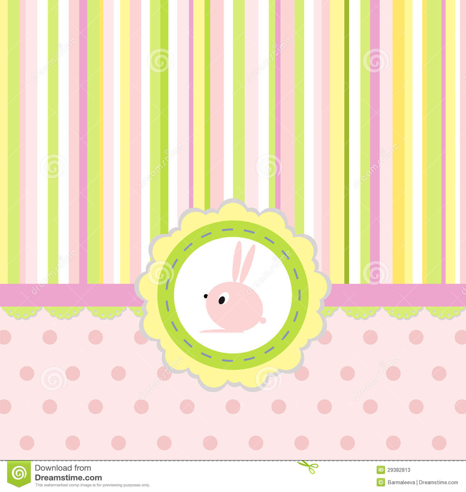 Tarjeta de felicitación con las rayas, los puntos y el conejo
