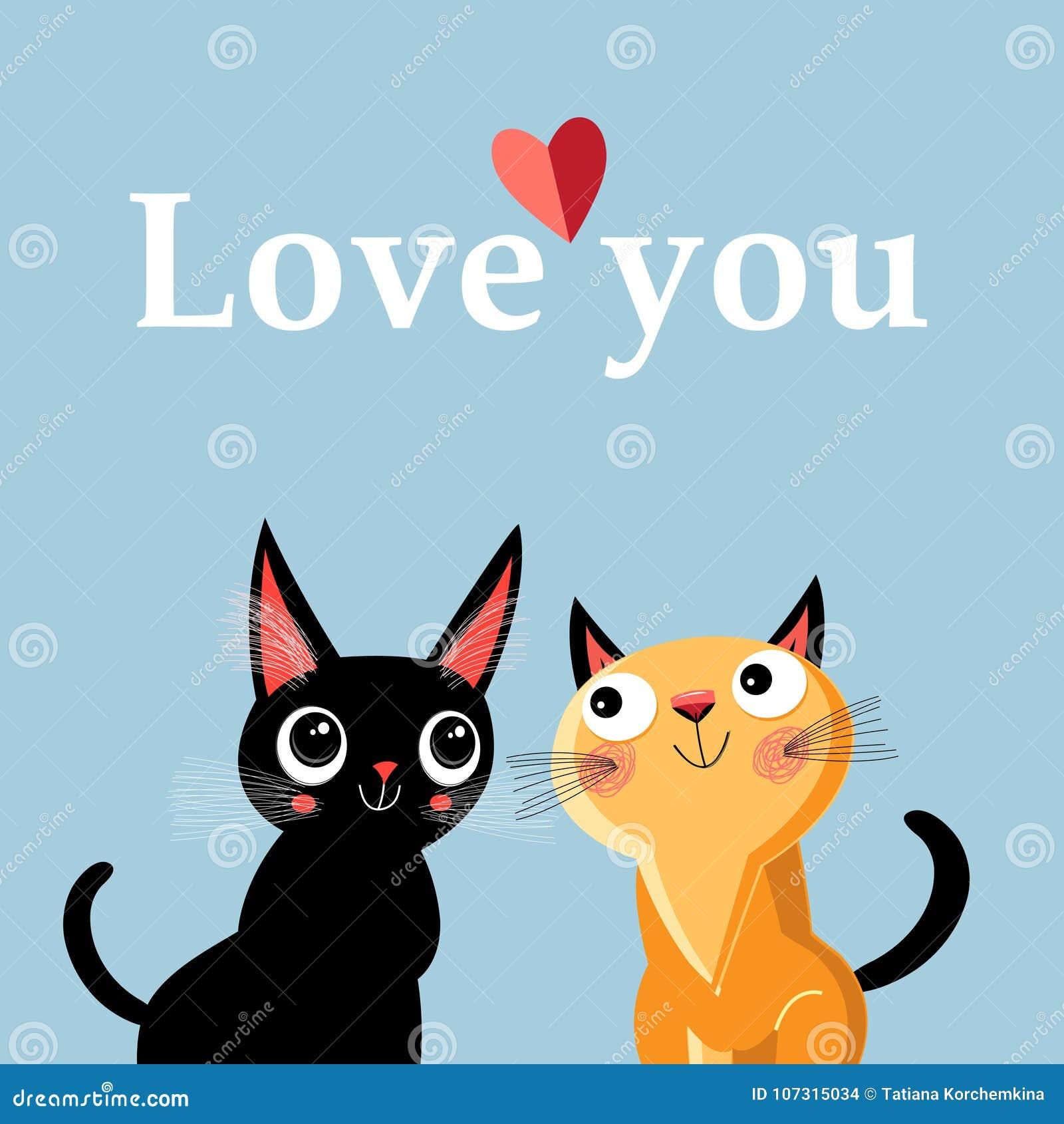 Tarjeta De Felicitación Con Los Gatitos Enamorados Ilustración Del