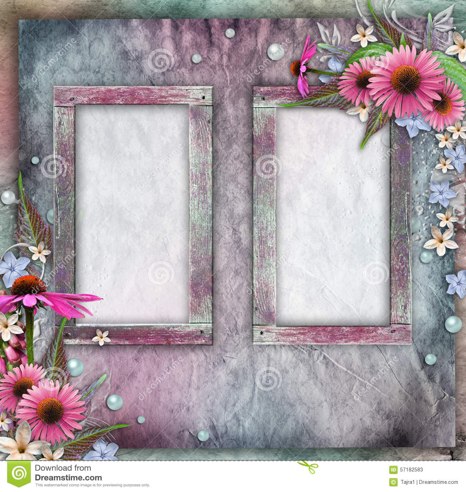 Tarjeta De Felicitación Con Los Marcos, Flores, Perlas Imagen de ...