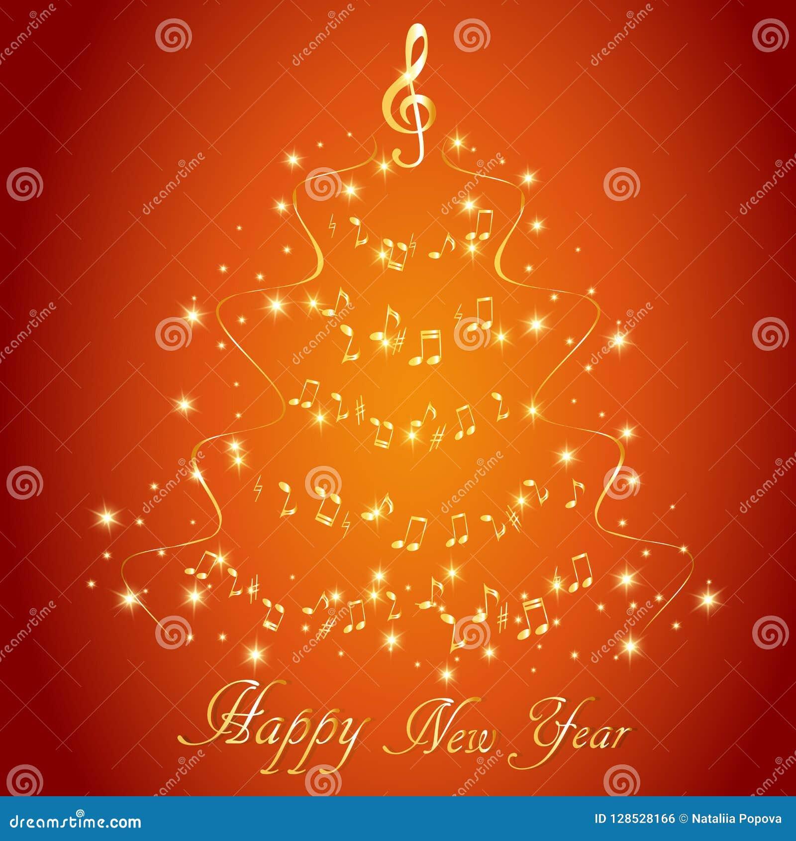 Tarjeta de felicitación con un árbol de navidad musical abstracto, con las notas y la clave de sol