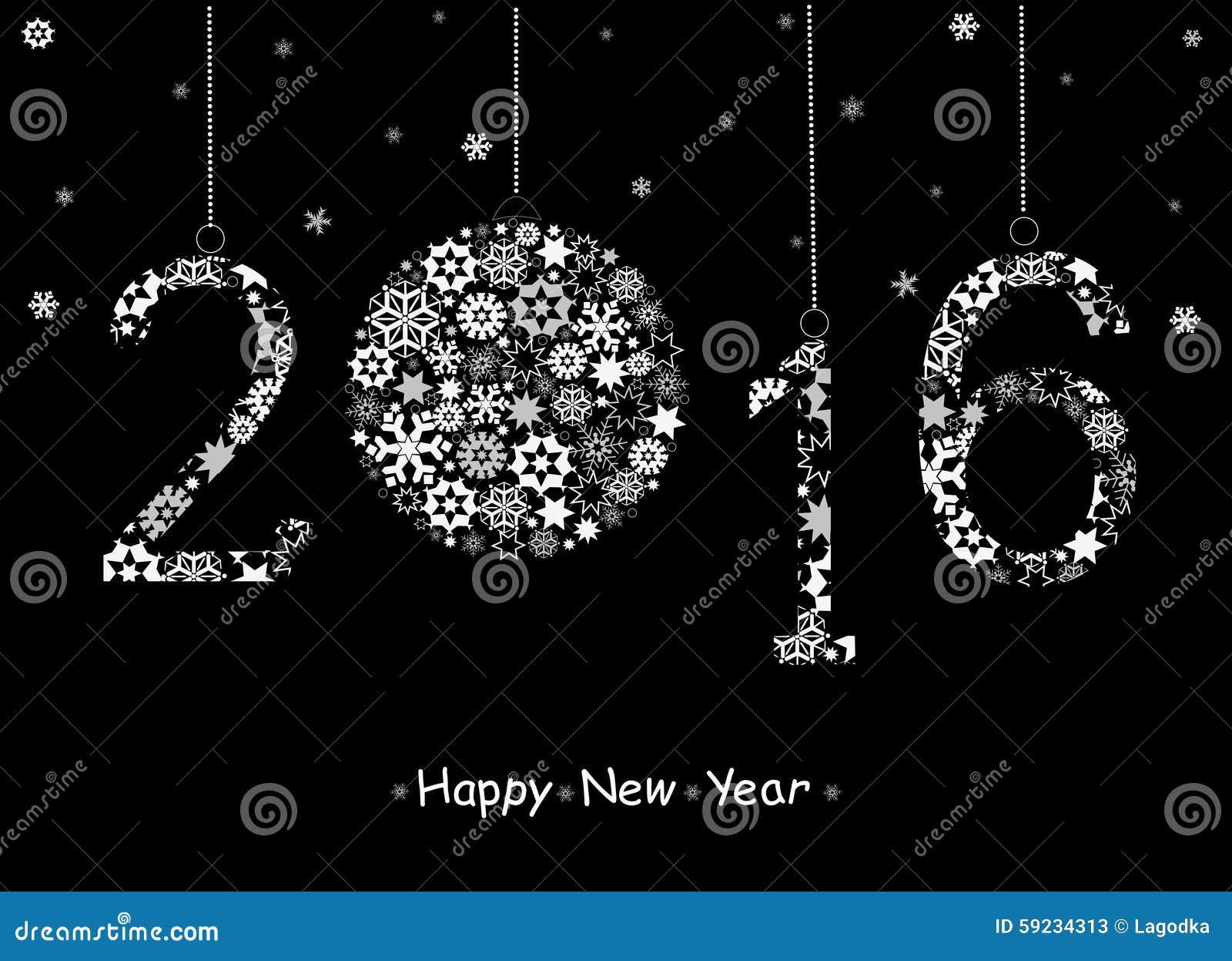 Tarjeta 2016 de felicitación de la Feliz Año Nuevo