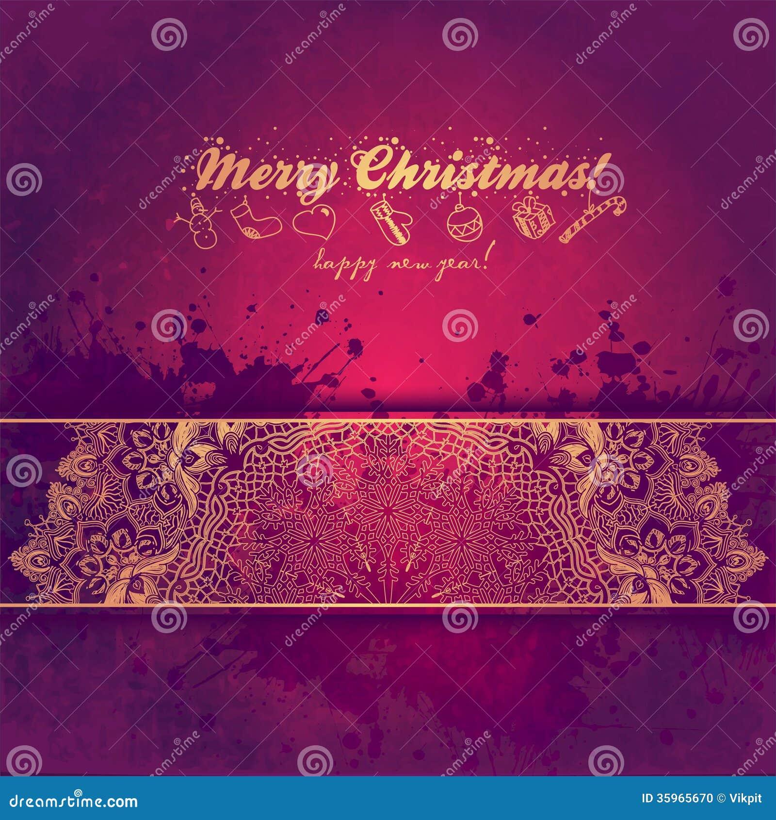 Tarjeta de felicitación de la Navidad con el árbol decorativo de