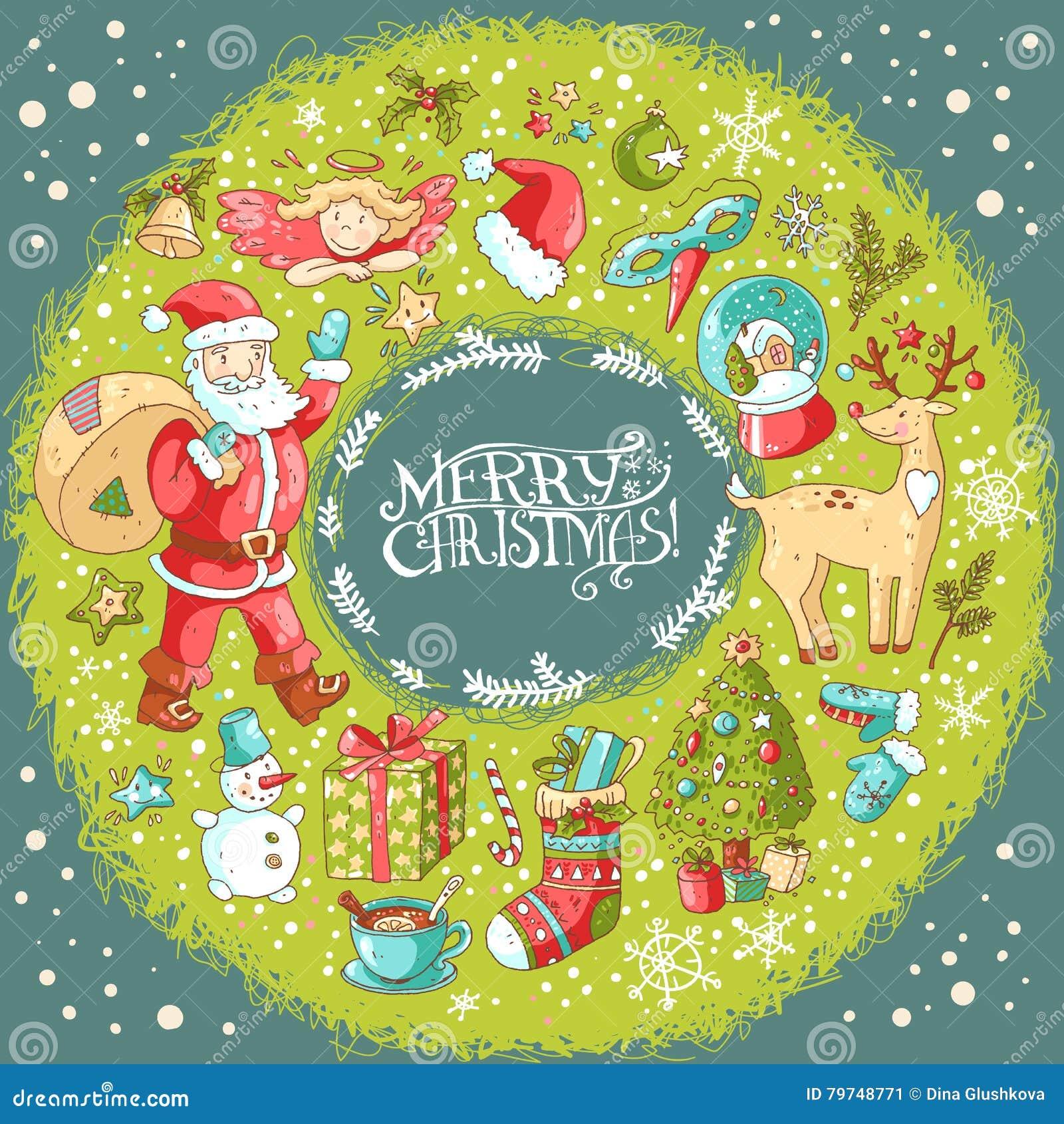 Tarjeta de felicitación de la Navidad del vector y del Año Nuevo