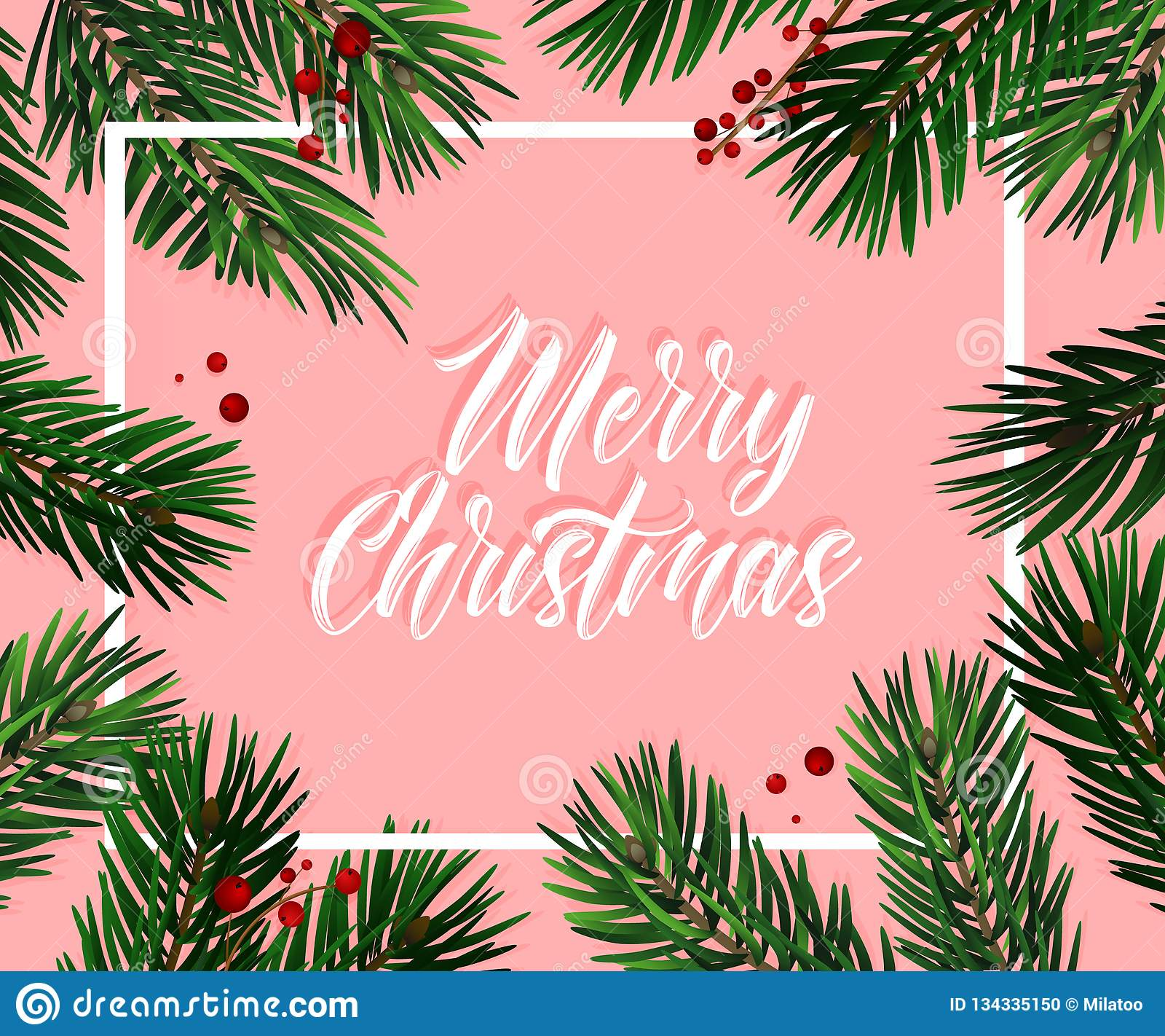 Tarjeta de felicitación del abeto del árbol de navidad del vector Grande para los aviadores, carteles, jefes la Navidad realista,