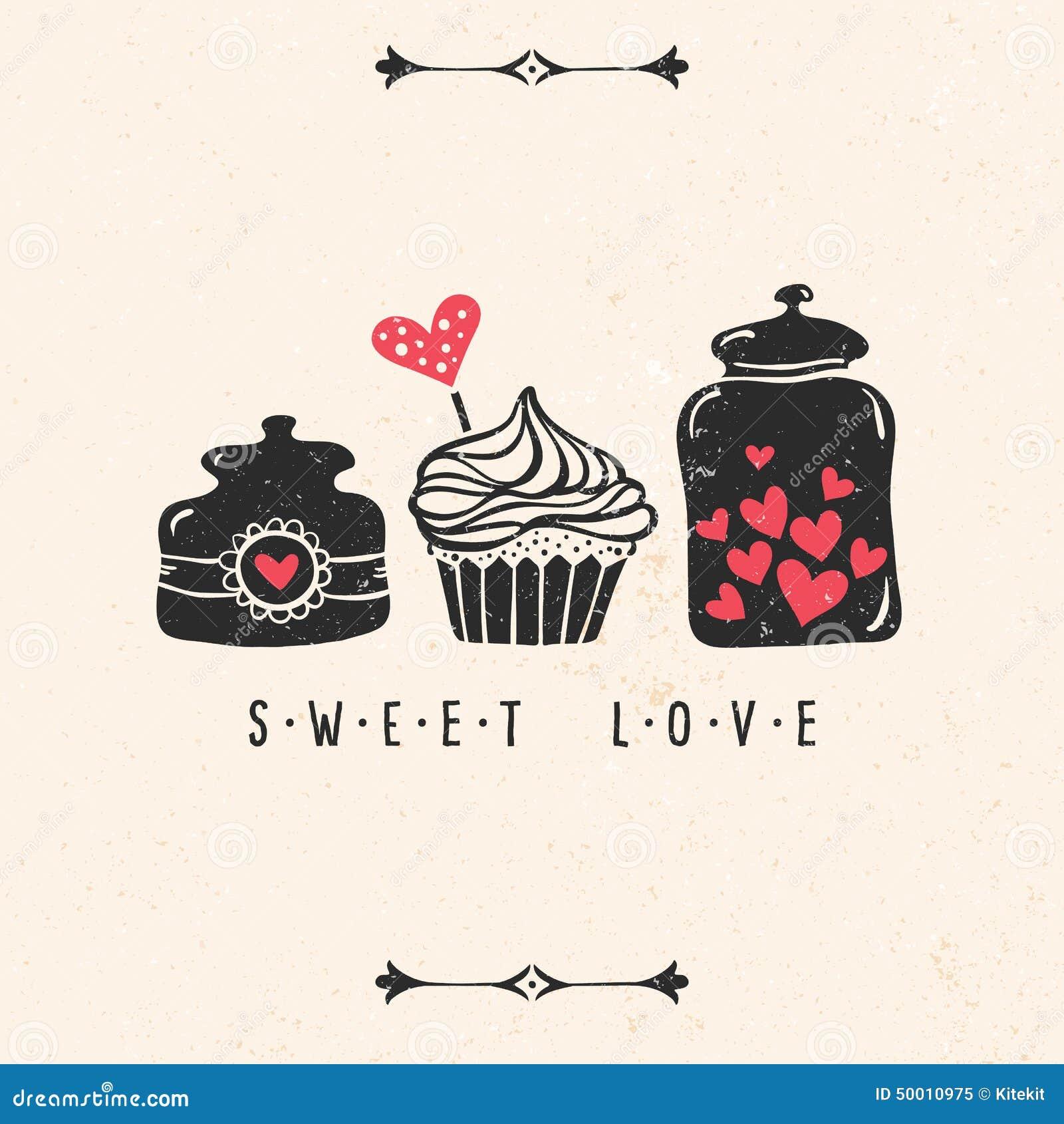 Tarjeta de felicitación del día de tarjeta del día de San Valentín con el corazón, magdalena, tarro