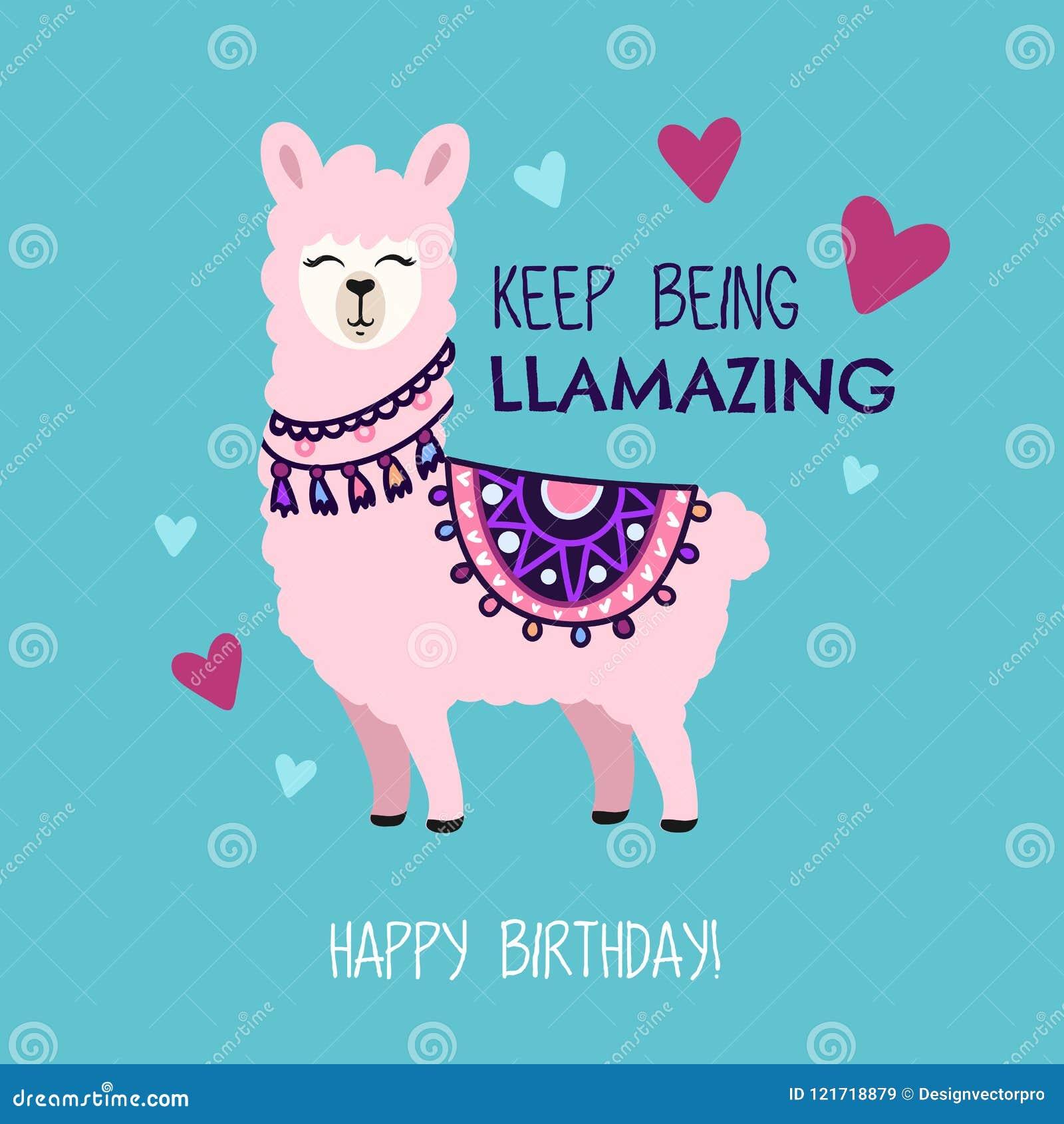 Tarjeta de felicitación del feliz cumpleaños con la llama linda y garabatos Guarde b