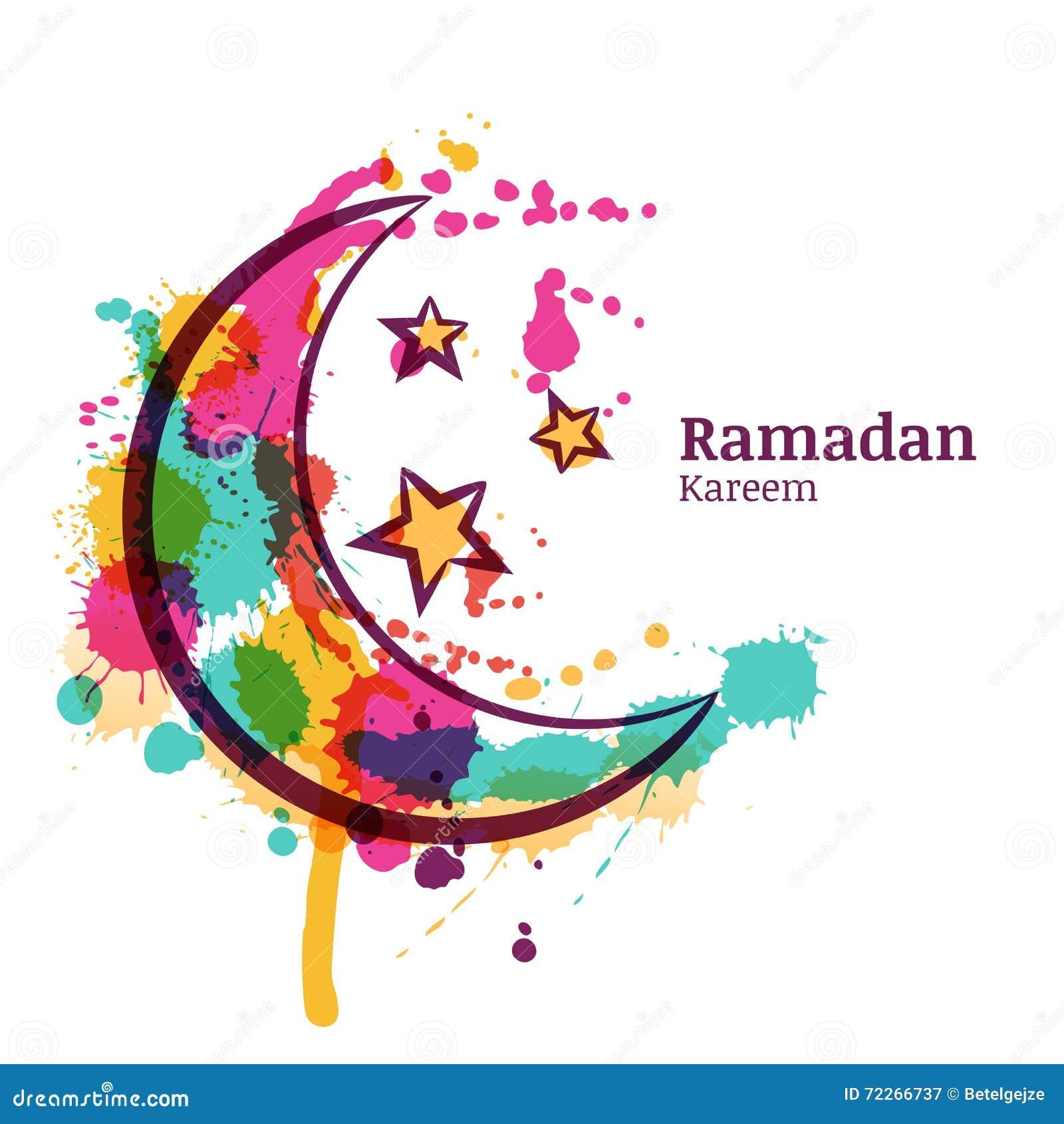 Tarjeta de felicitación del Ramadán con la luna y las estrellas decorativas de la acuarela