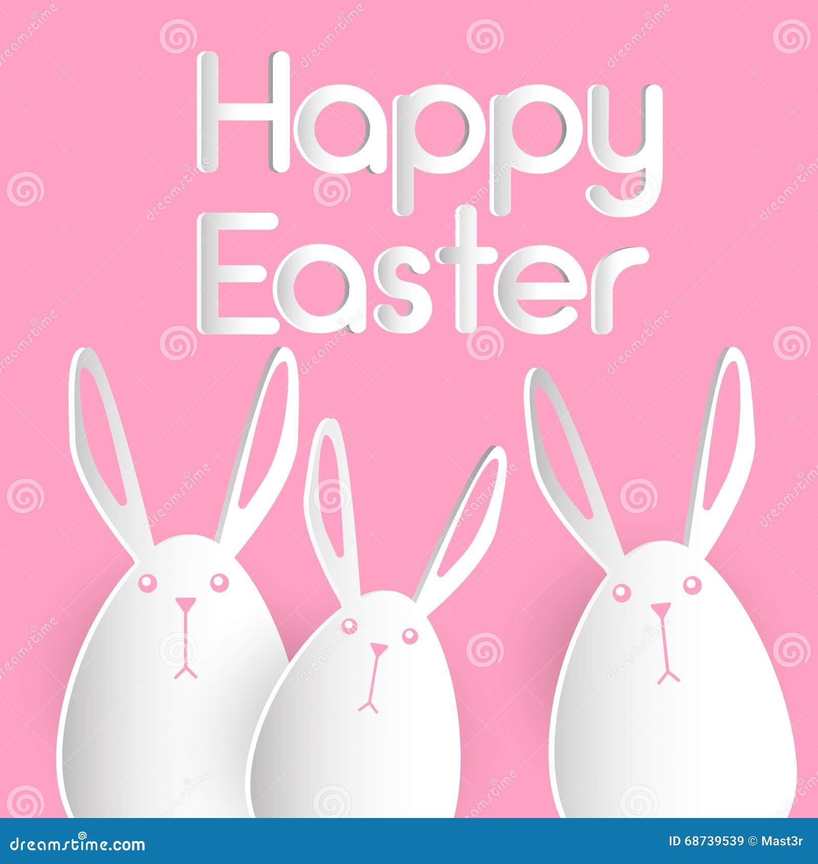 Tarjeta de felicitación del rosa de Bunny Happy Easter Holiday Banner del grupo del conejo plana