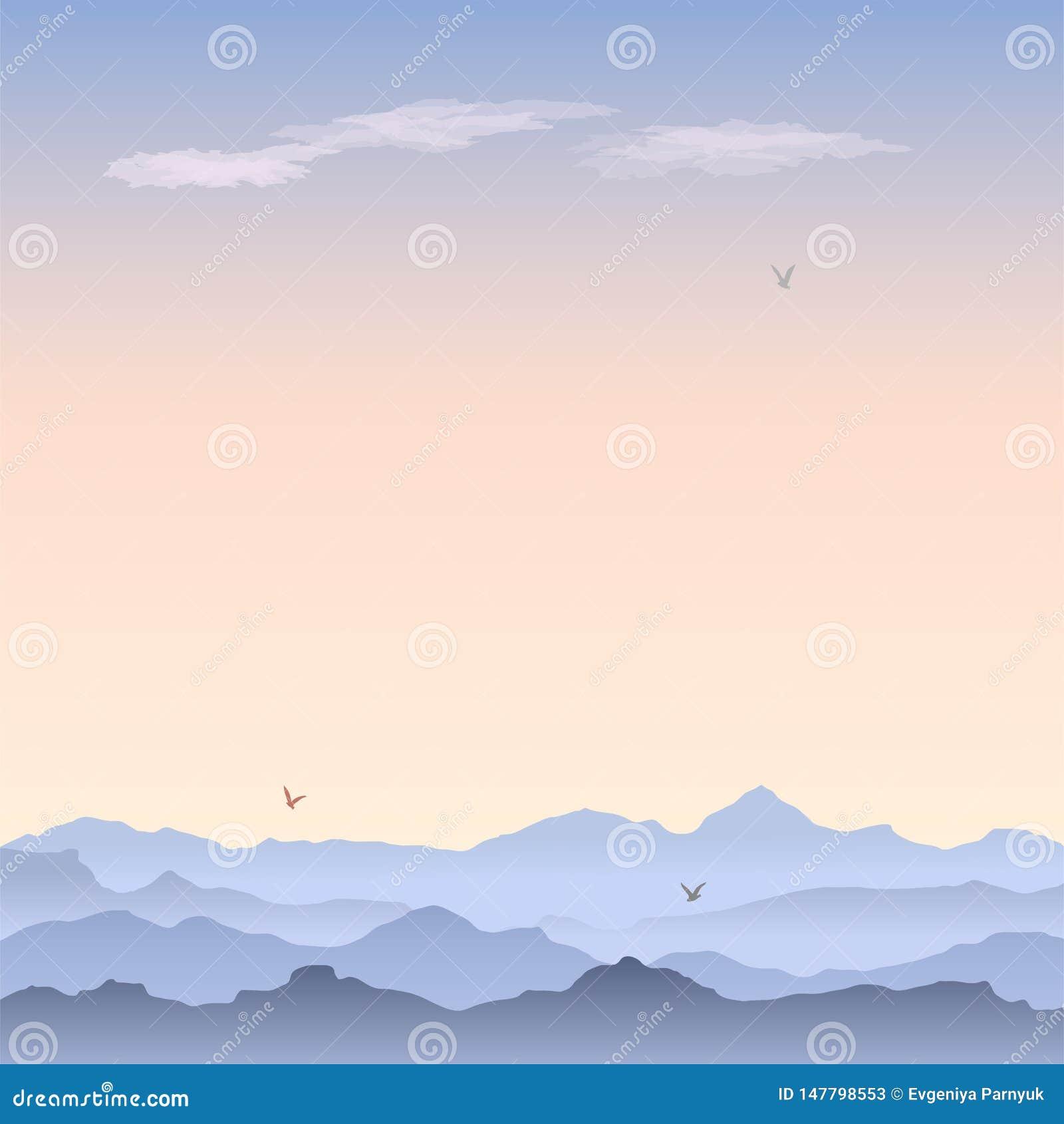 Tarjeta de felicitación del vector con paisaje de la montaña