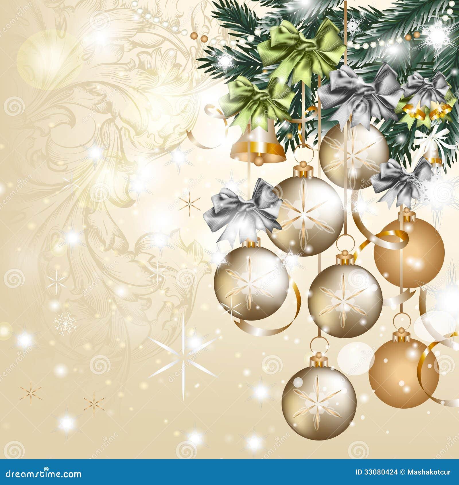 Tarjeta De Felicitacion Del Vector Del Vintage De La Navidad Con Las - Vintage-navidad