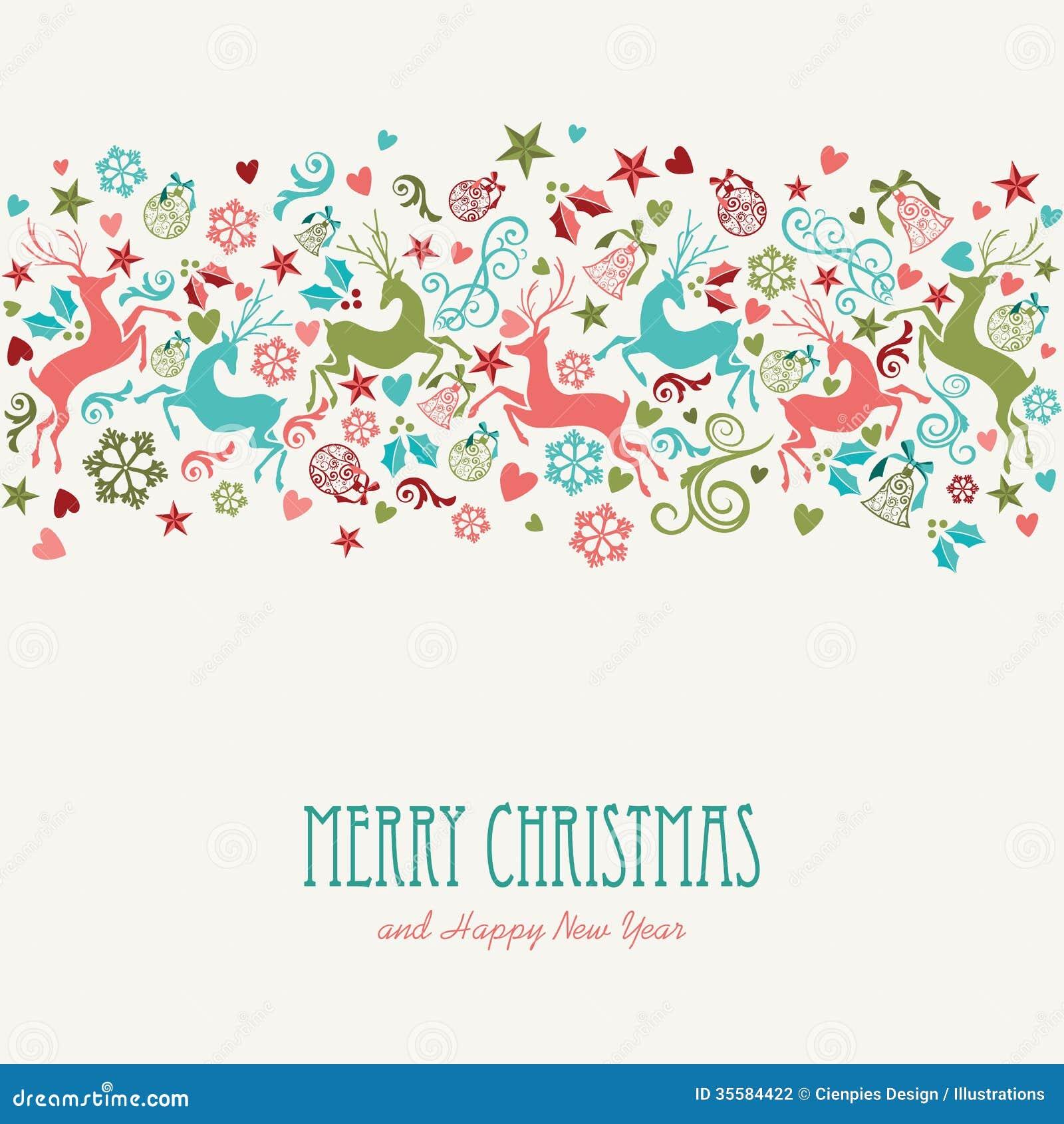 Tarjeta de felicitación del vintage de la Feliz Navidad y de la Feliz Año Nuevo