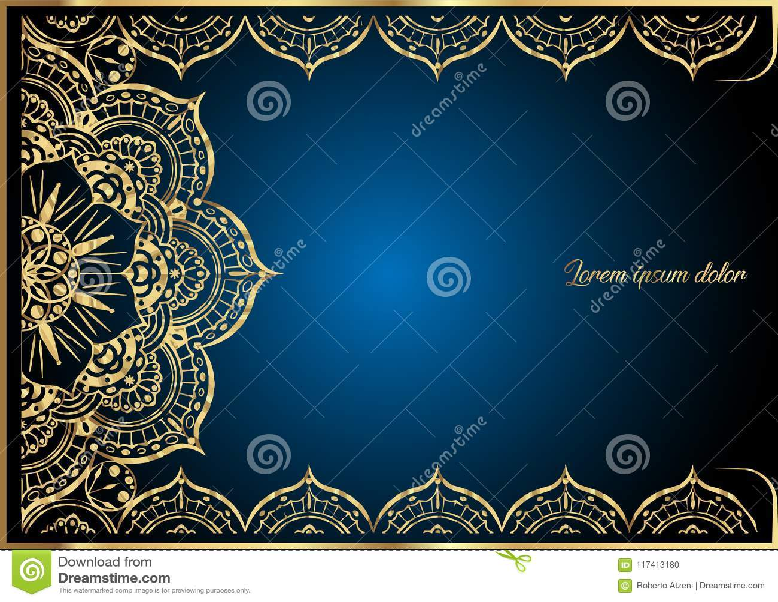Tarjeta de felicitación del vintage del oro en fondo azul Plantilla de lujo del ornamento Grande para la invitación, aviador, men