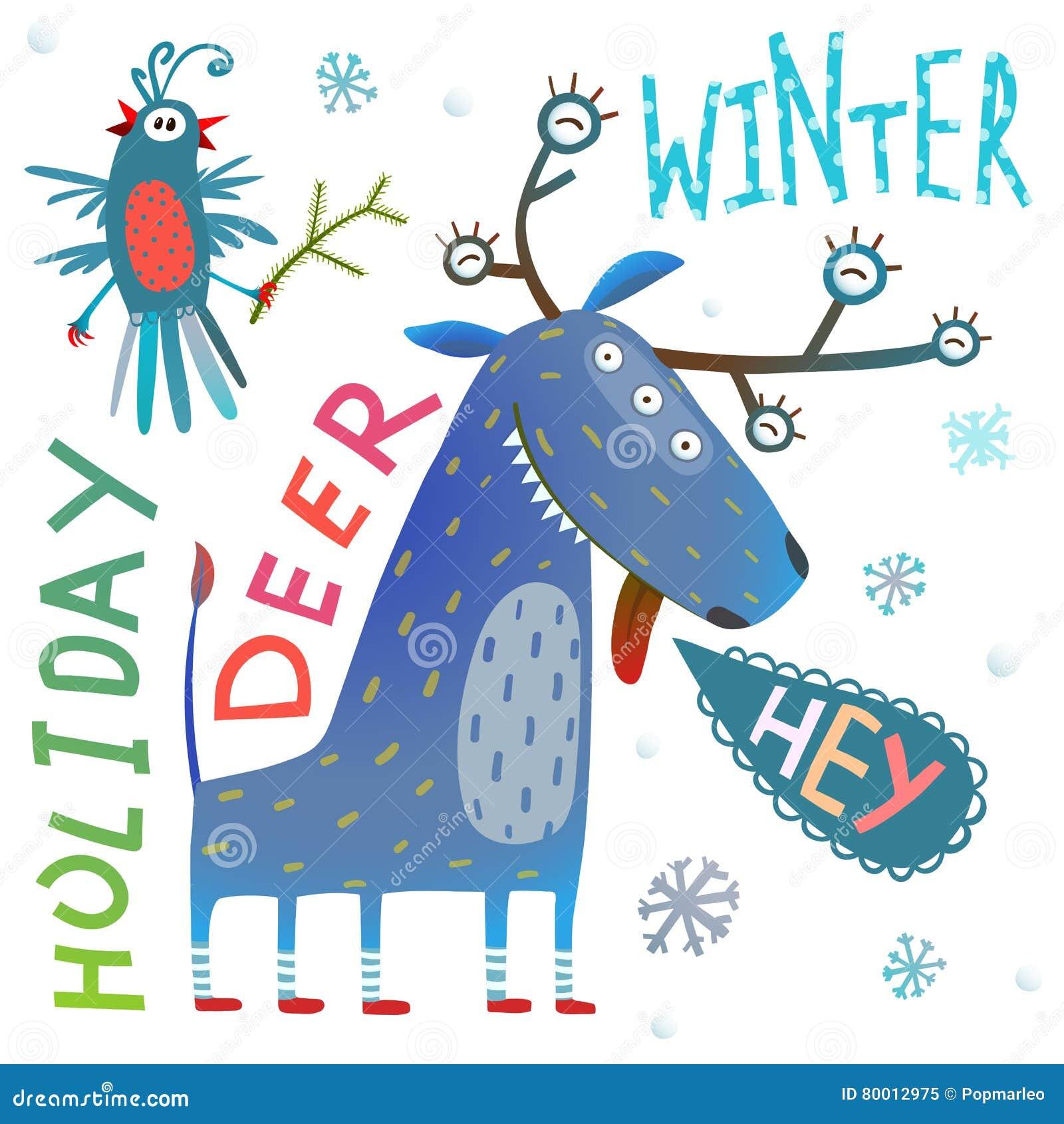 Tarjeta de felicitación divertida de las vacaciones de invierno del Año Nuevo de Chrismas del reno del monstruo