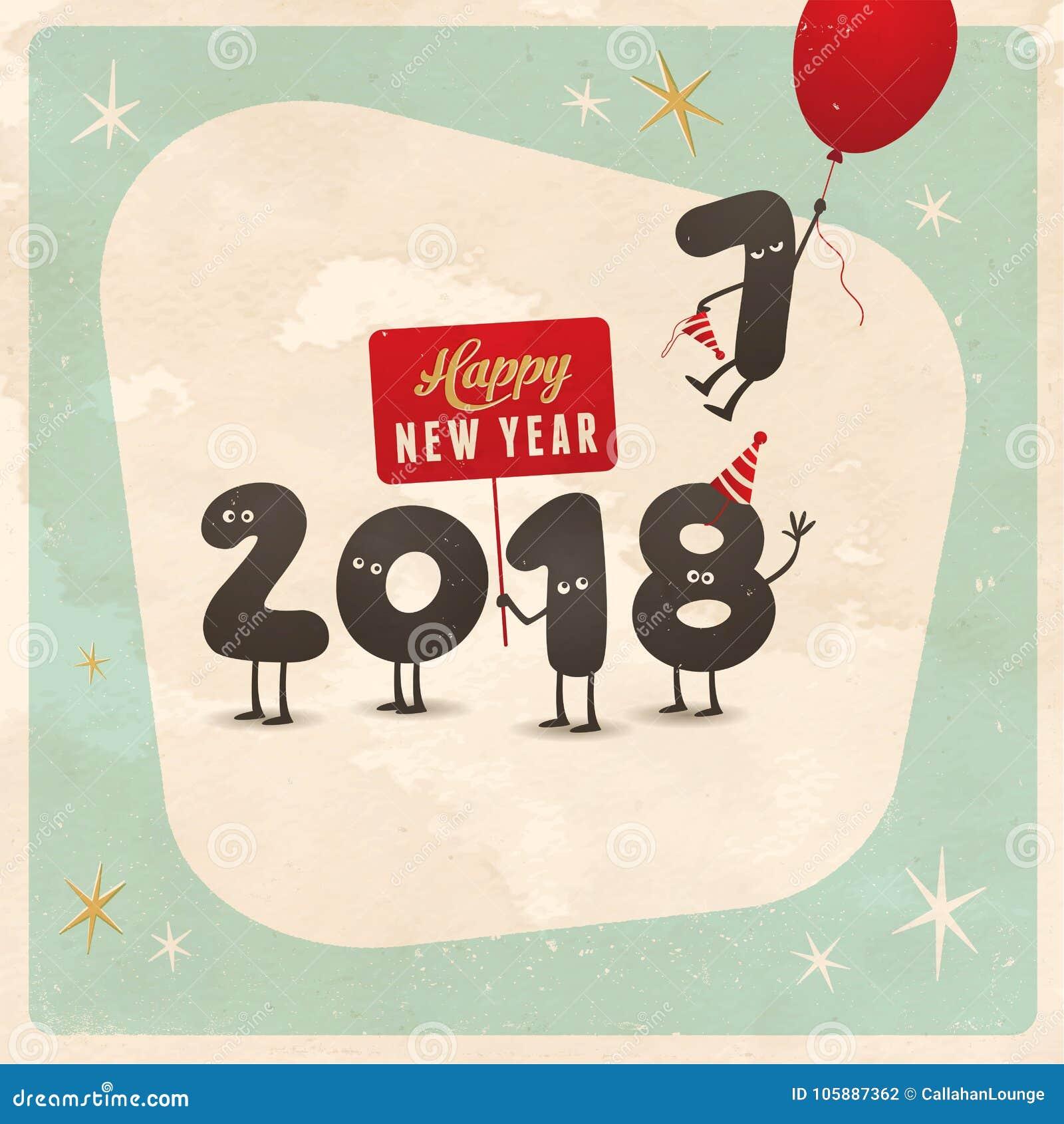Tarjeta de felicitación divertida del estilo del vintage - Feliz Año Nuevo 2018