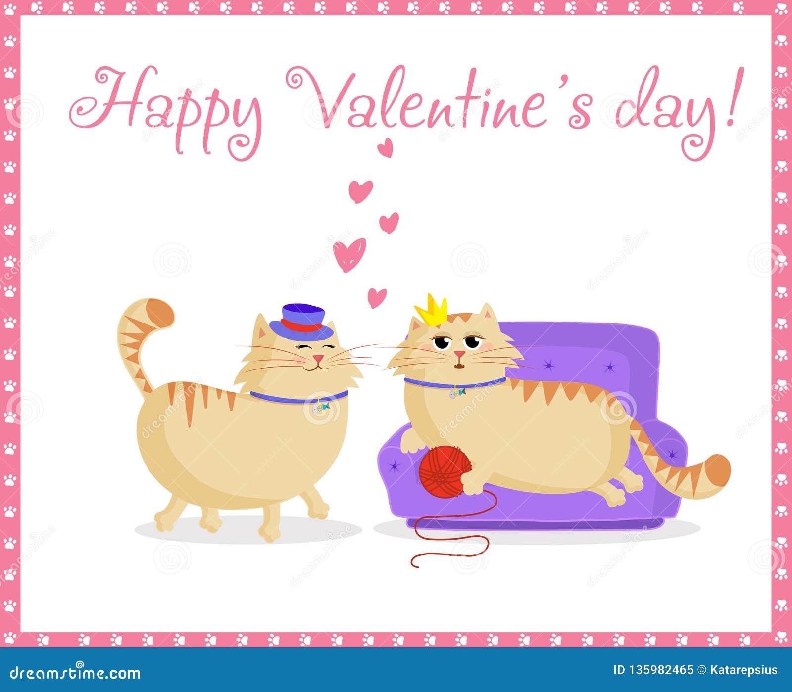 Tarjeta de felicitación feliz de día de San Valentín con los gatos lindos muchacho y muchacha de la historieta en amor