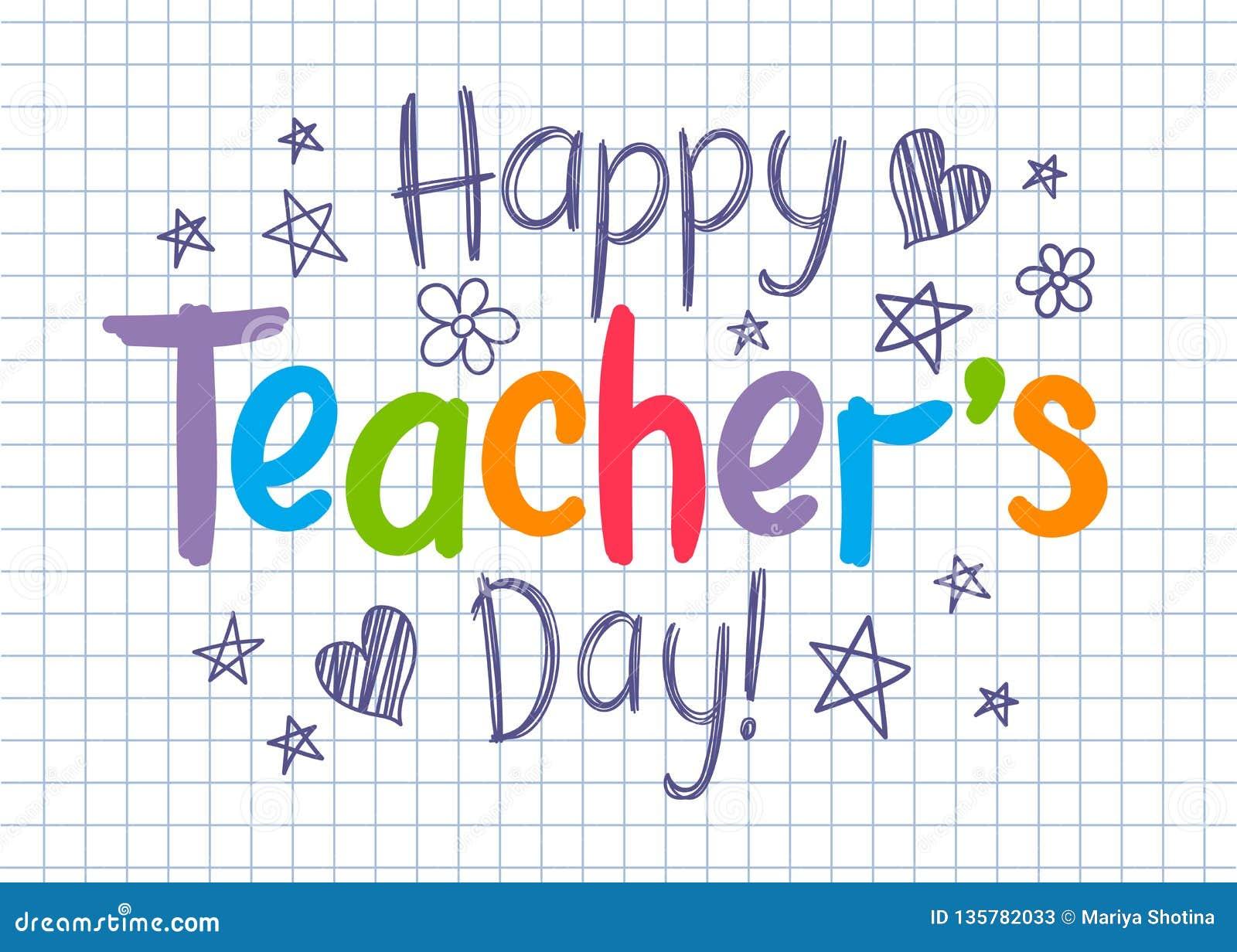 Tarjeta de felicitación feliz del día de los profesores en la hoja ajustada del cuaderno en estilo incompleto