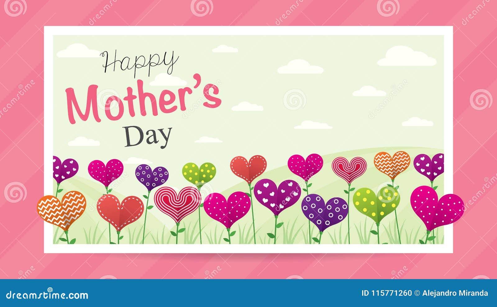 Tarjeta de felicitación feliz del día del ` s de la madre Campo de flores en la forma de un corazón de diversos colores dentro de