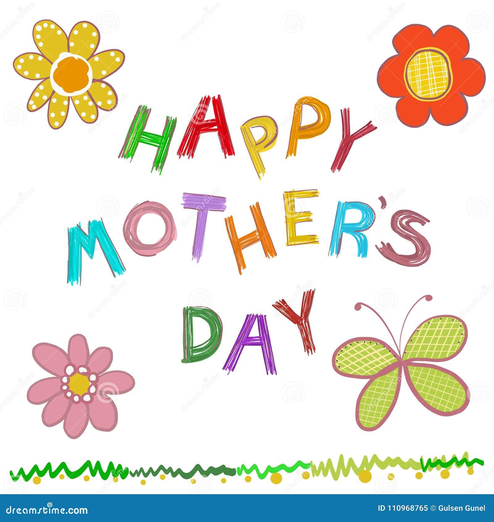 Tarjeta de felicitación feliz del día del ` s de la madre Garabatee el texto dibujado mano `` de la madre de las flores del día f