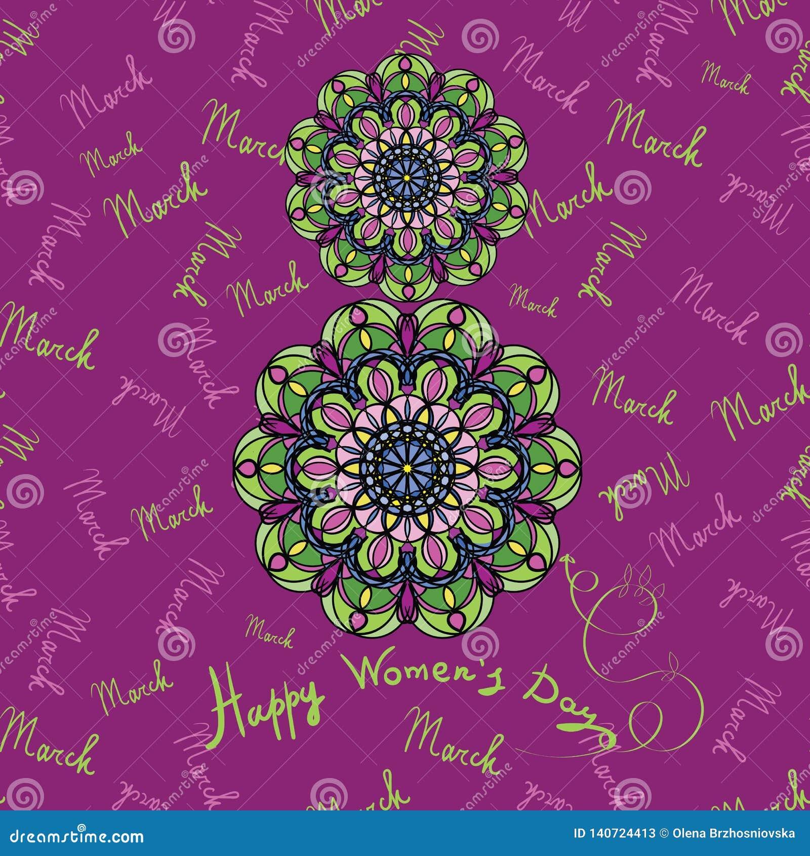 Tarjeta de felicitación feliz del día del ` s de las mujeres