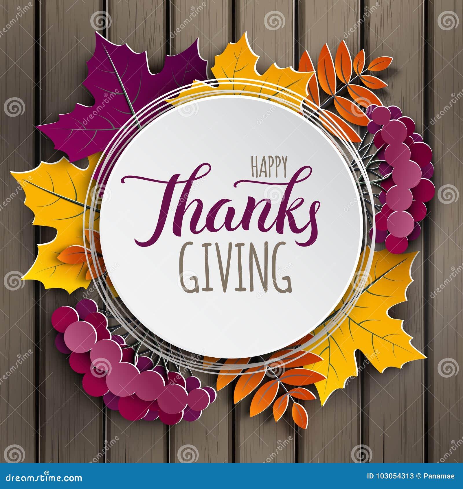 Tarjeta de felicitación feliz de la acción de gracias El marco de papel floral del otoño y el árbol colorido de papel se va en fo