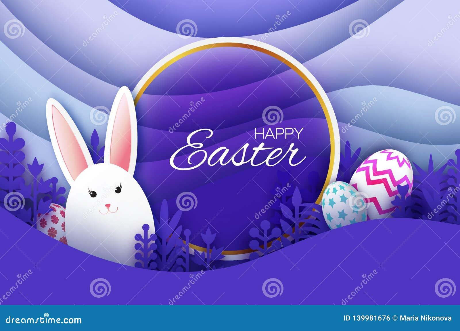 Tarjeta de felicitación feliz de Pascua con el conejo de conejito cortado de papel, flores de la primavera Huevos Paisaje acodado