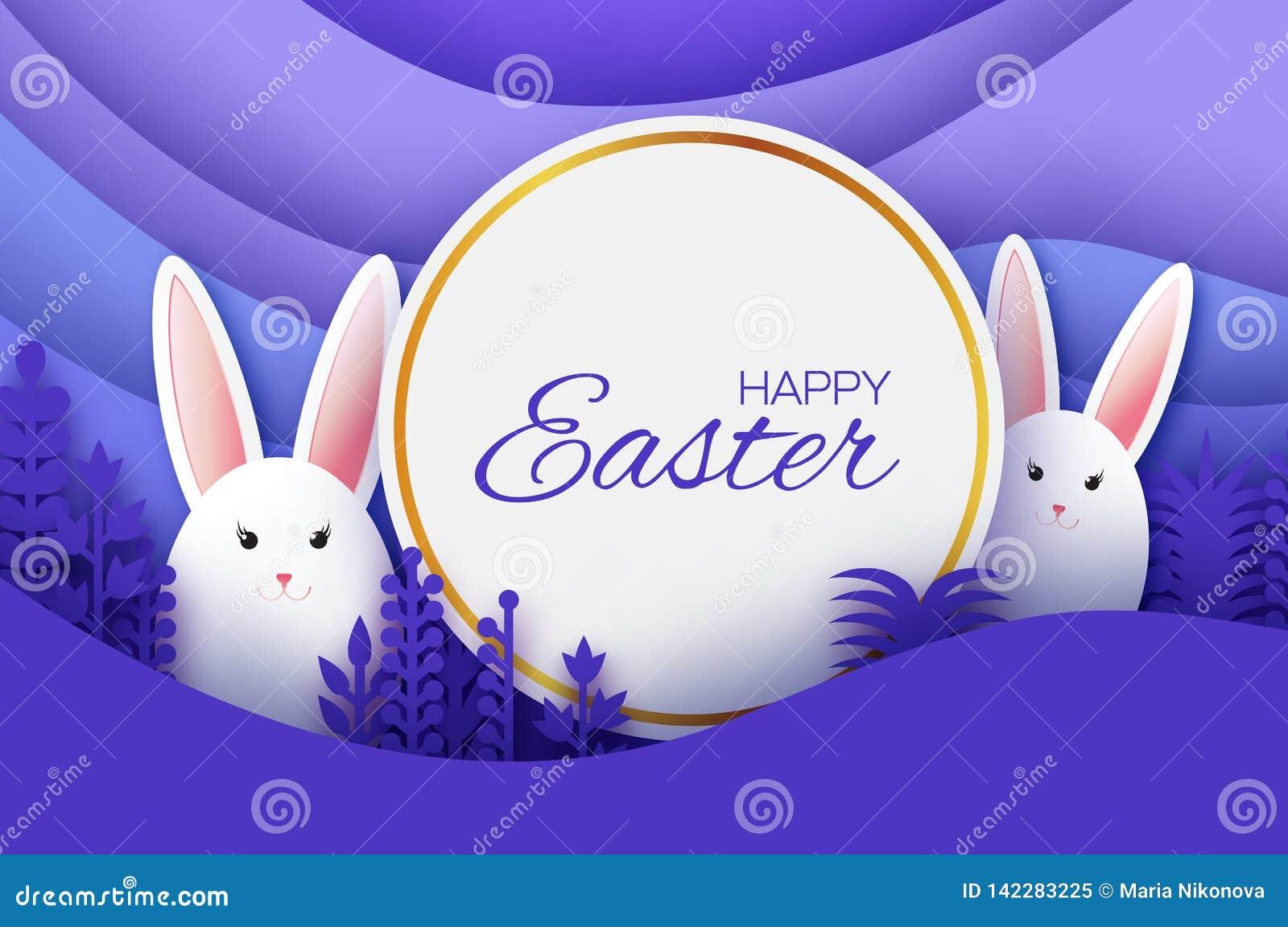Tarjeta de felicitación feliz de Pascua con el conejo de conejito cortado de papel, flores de la primavera Paisaje acodado papiro