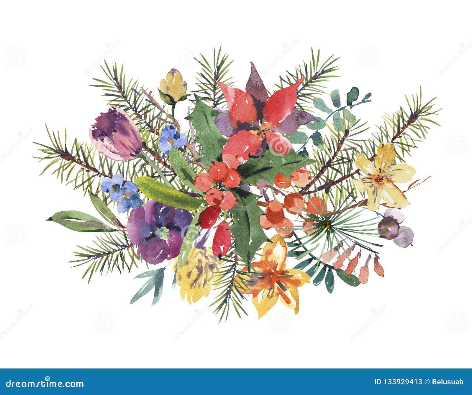 Tarjeta de felicitación floral de la Navidad de la acuarela del invierno con el branc del árbol