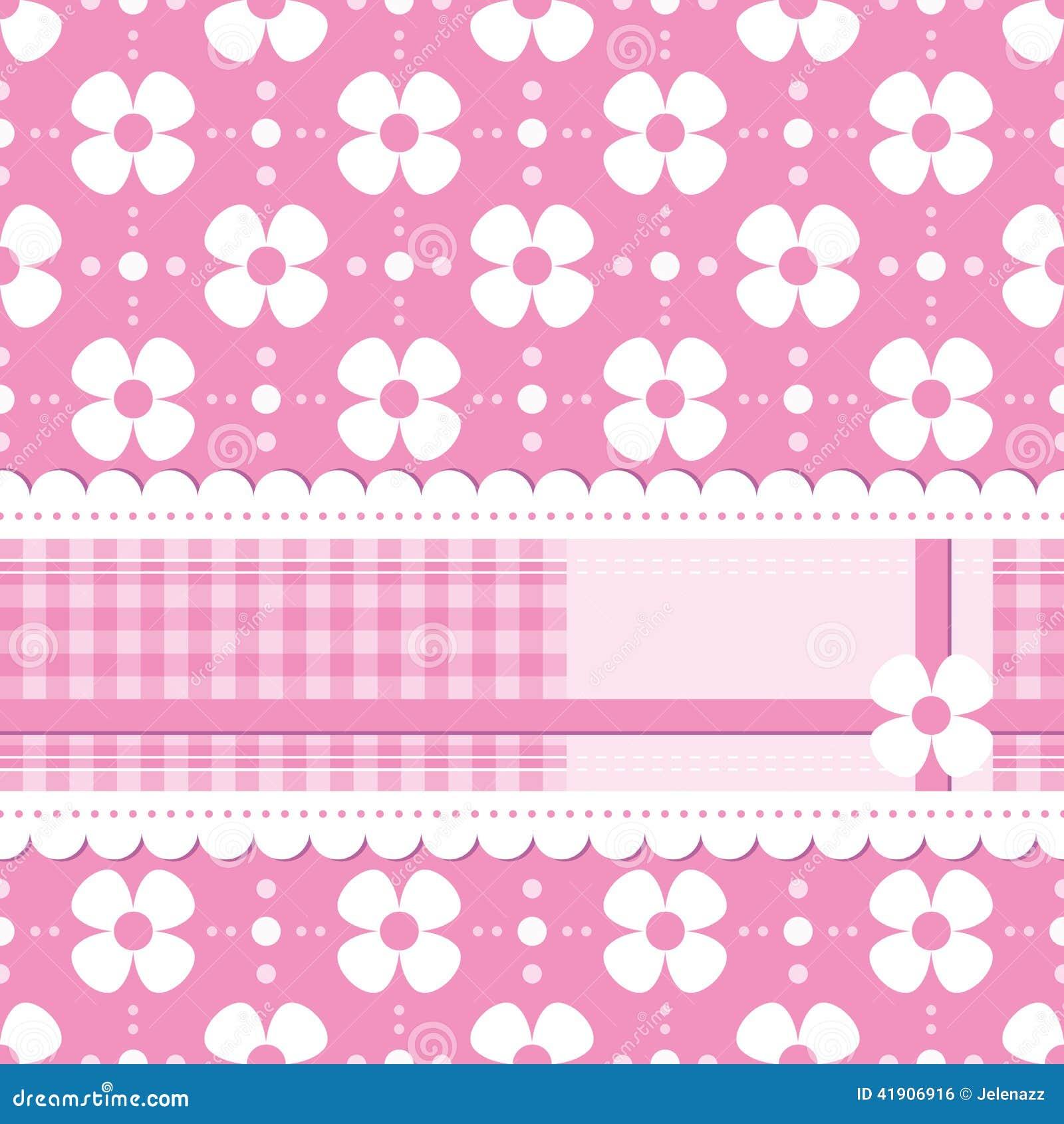 Tarjeta de felicitación florida rosada