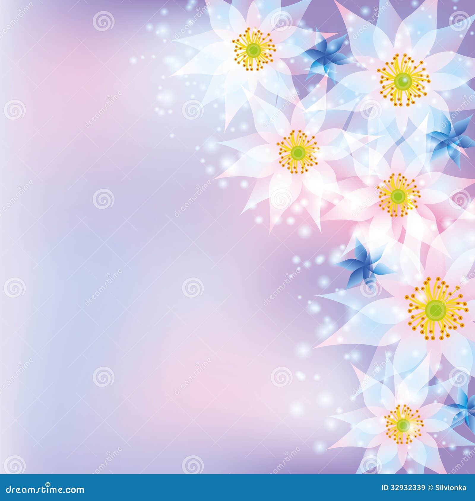 Tarjeta De Felicitación Fondo Abstracto Con Las Flores Ilustración