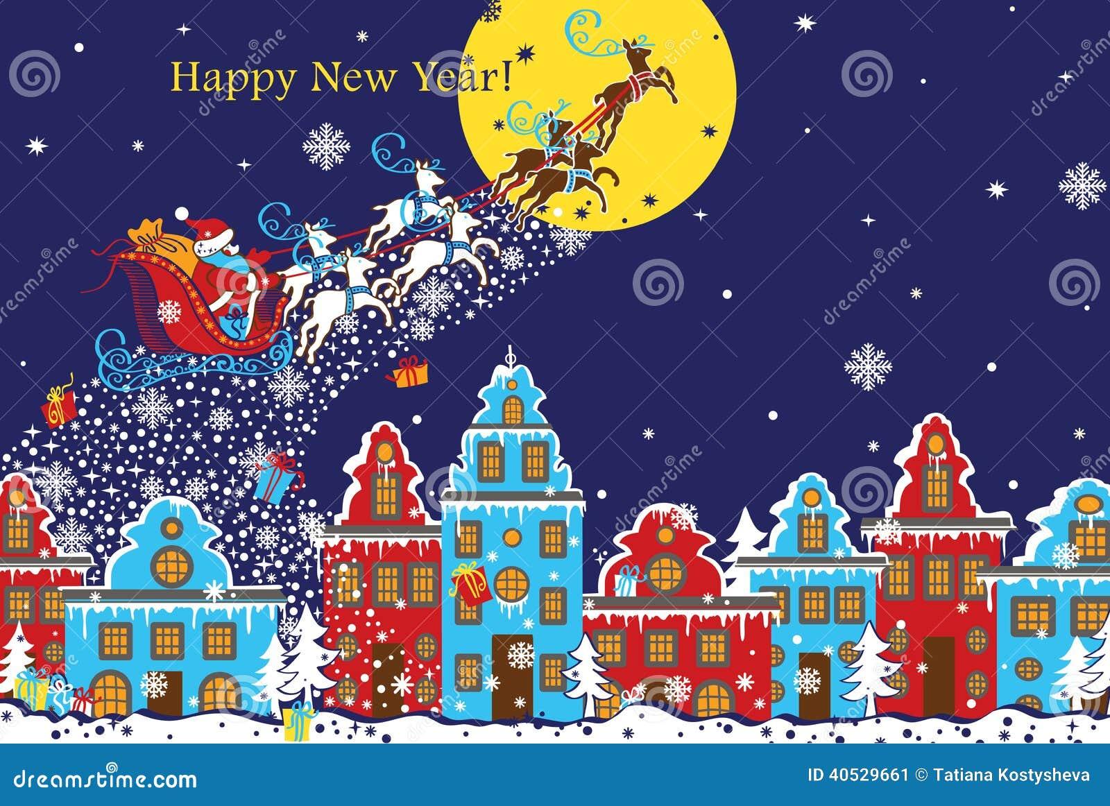 Tarjeta de felicitación horizontal del Año Nuevo Santa Claus que viene a la ciudad Vec