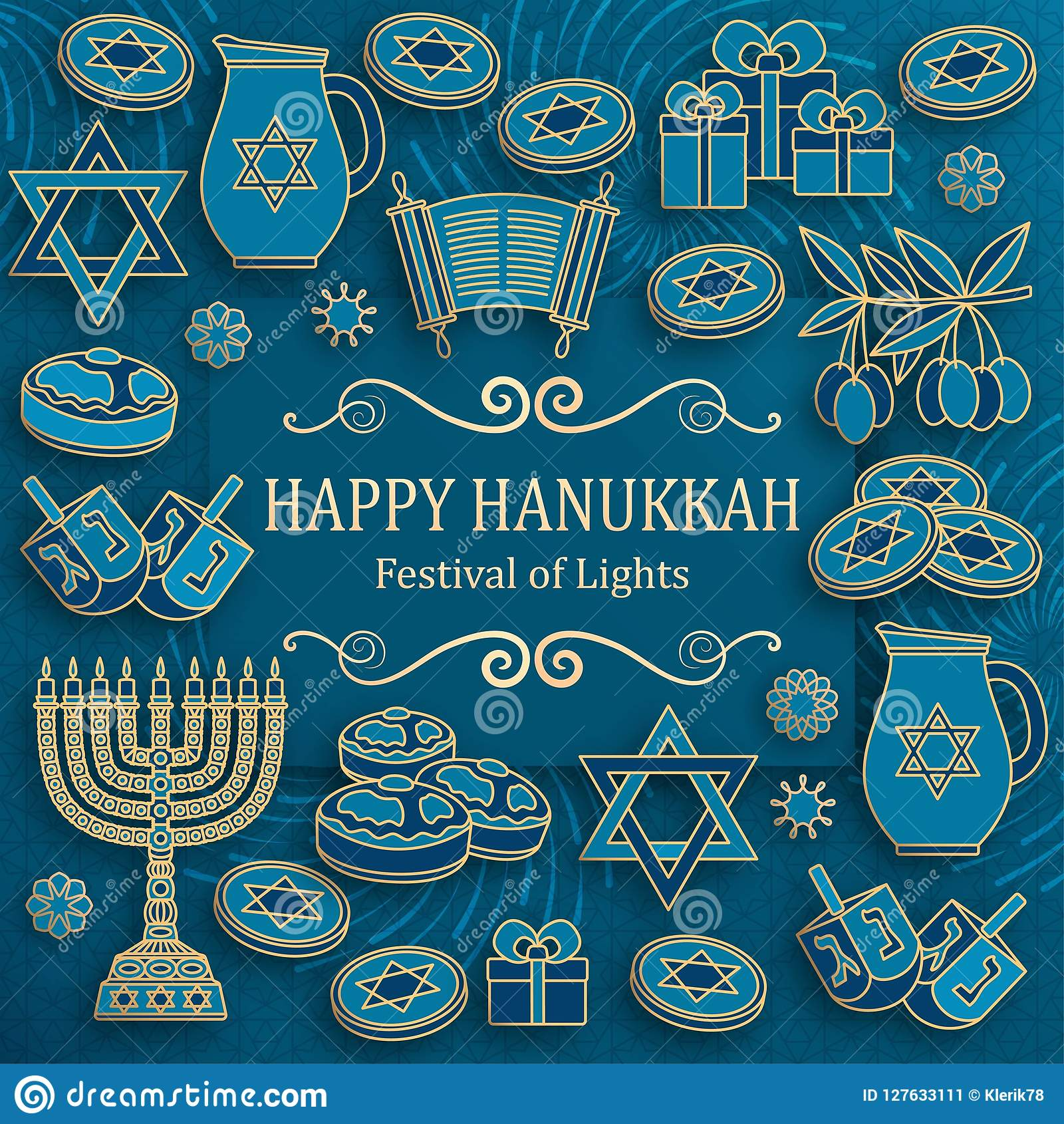 Tarjeta de felicitación de Jánuca con Torah, el menorah y los dreidels Lugar para su texto