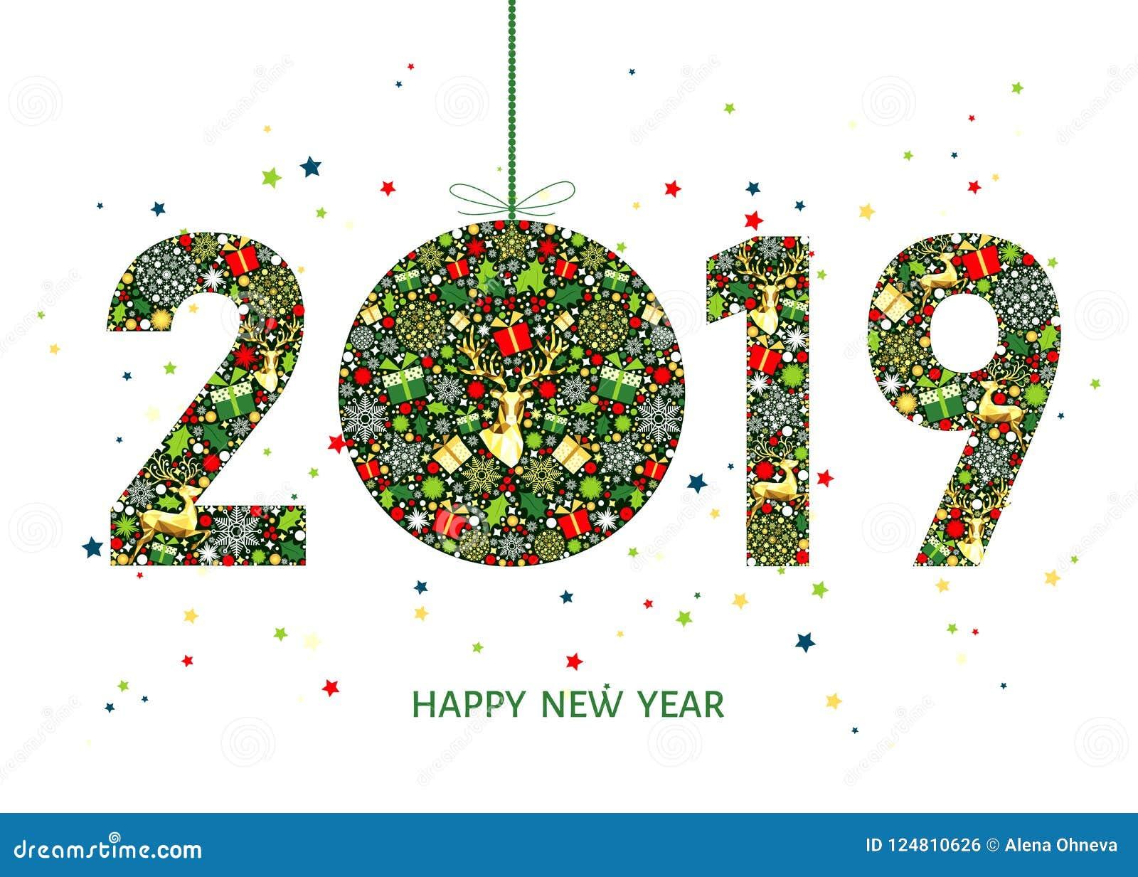 Imagenes Felicitacion Navidad 2019.Tarjeta De Felicitacion De La Feliz Ano Nuevo 2019 Con La