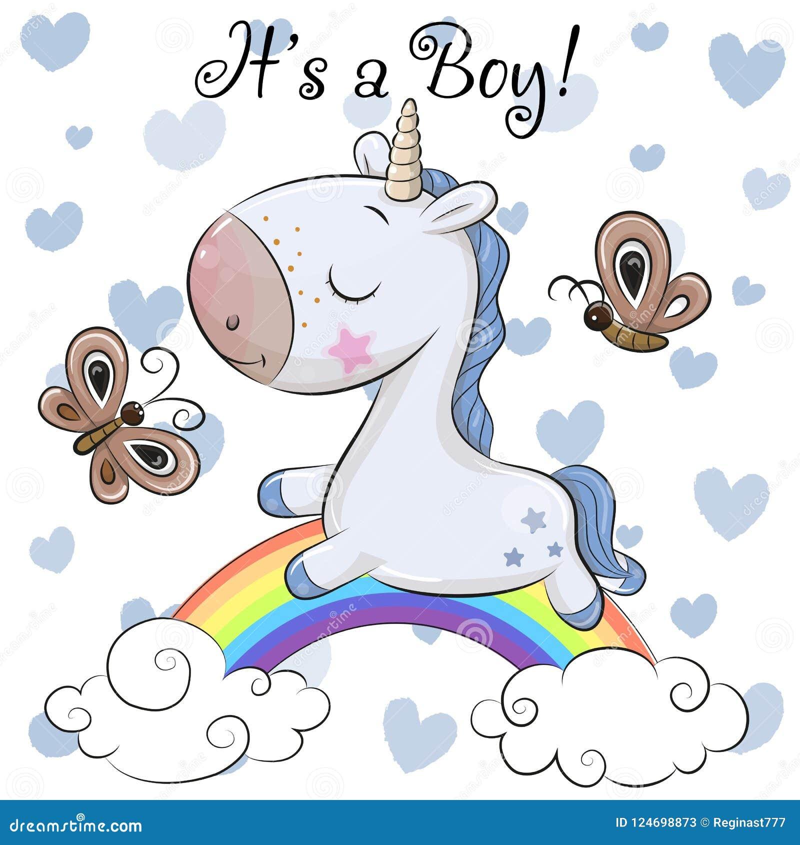 Tarjeta de felicitación de la fiesta de bienvenida al bebé con el muchacho lindo del unicornio