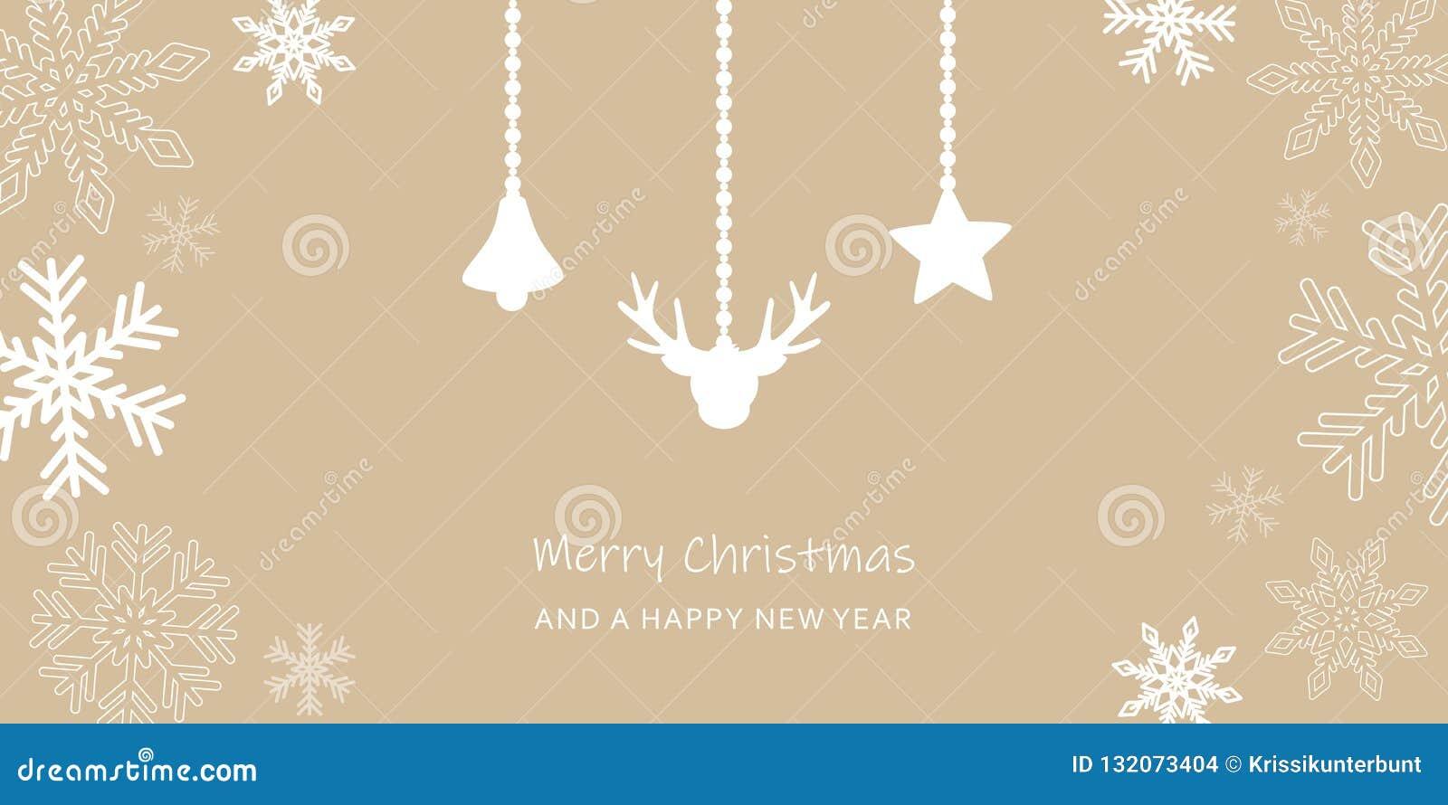 Tarjeta de felicitación de la Navidad con la decoración de la frontera y del reno del copo de nieve