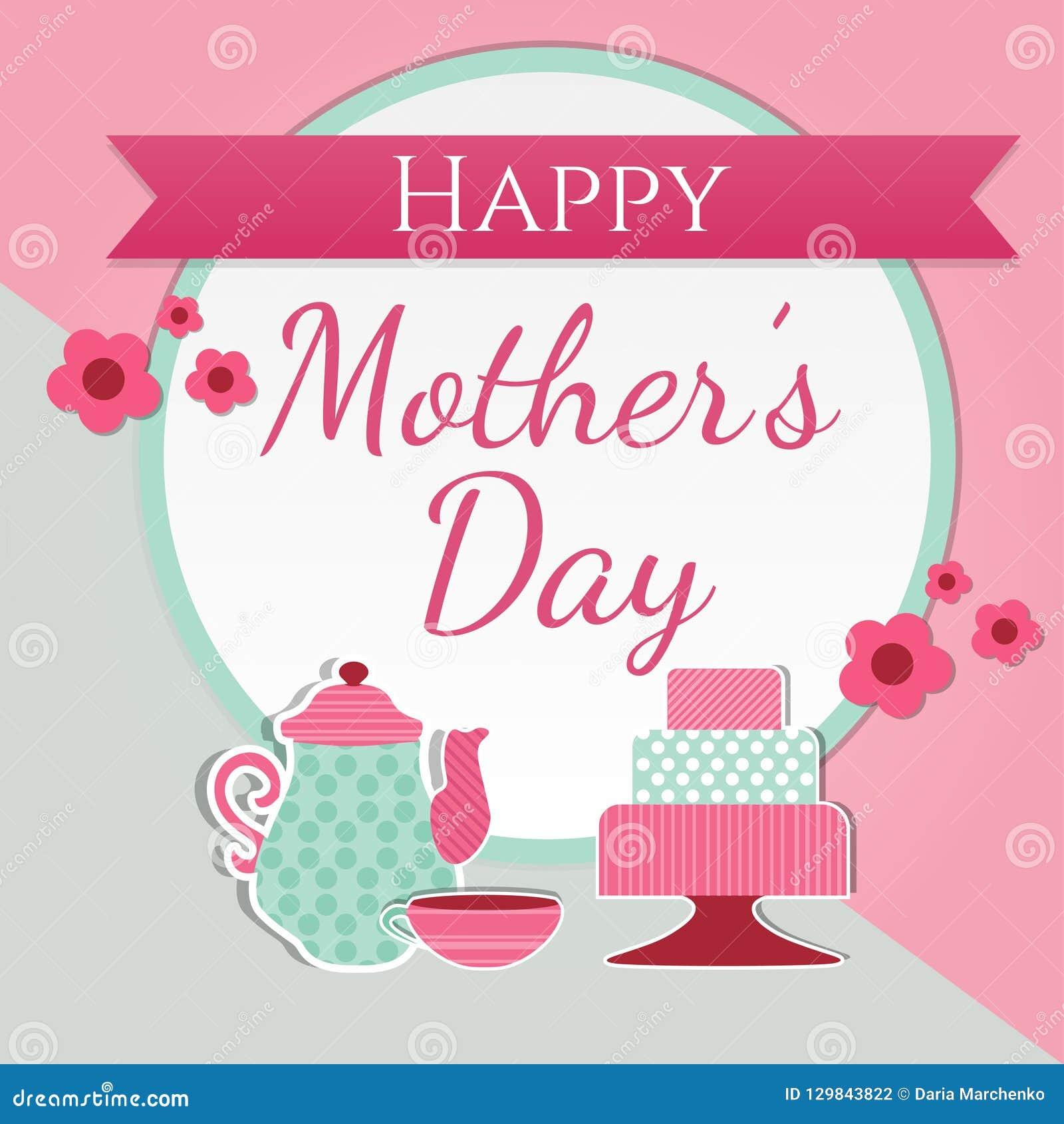 Tarjeta De Felicitación Linda Feliz Del Día De Madre