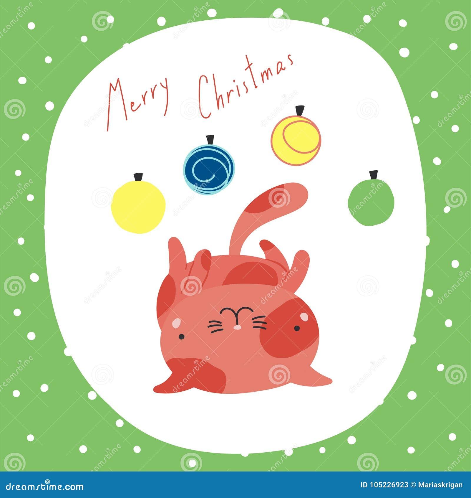 Tarjeta de felicitación linda de los gatos de la Navidad