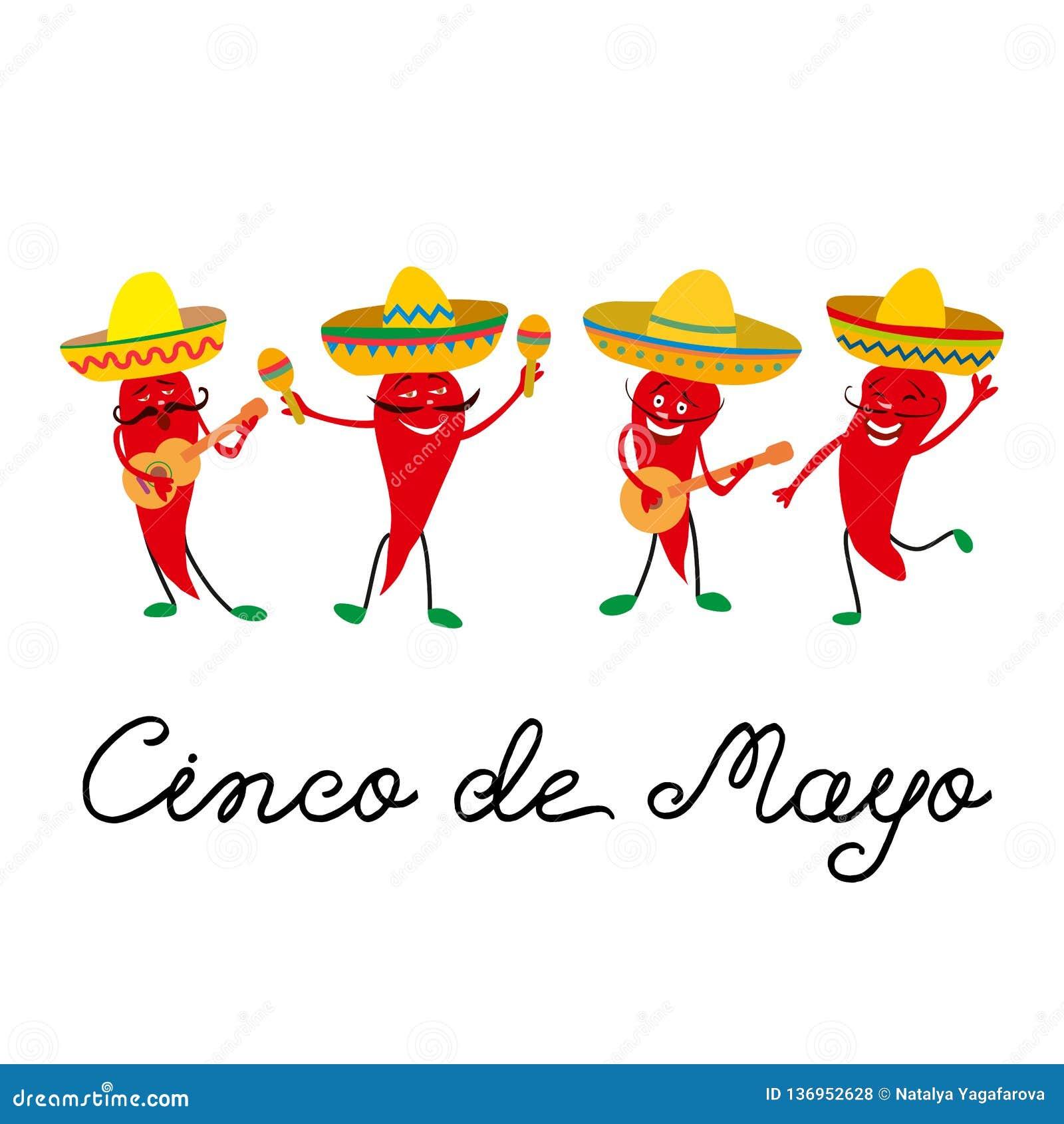 Tarjeta de felicitación mexicana de Cinco de Mayo con y jalapeno alegre de las pimientas rojas en el sombrero, guitarra y con mar