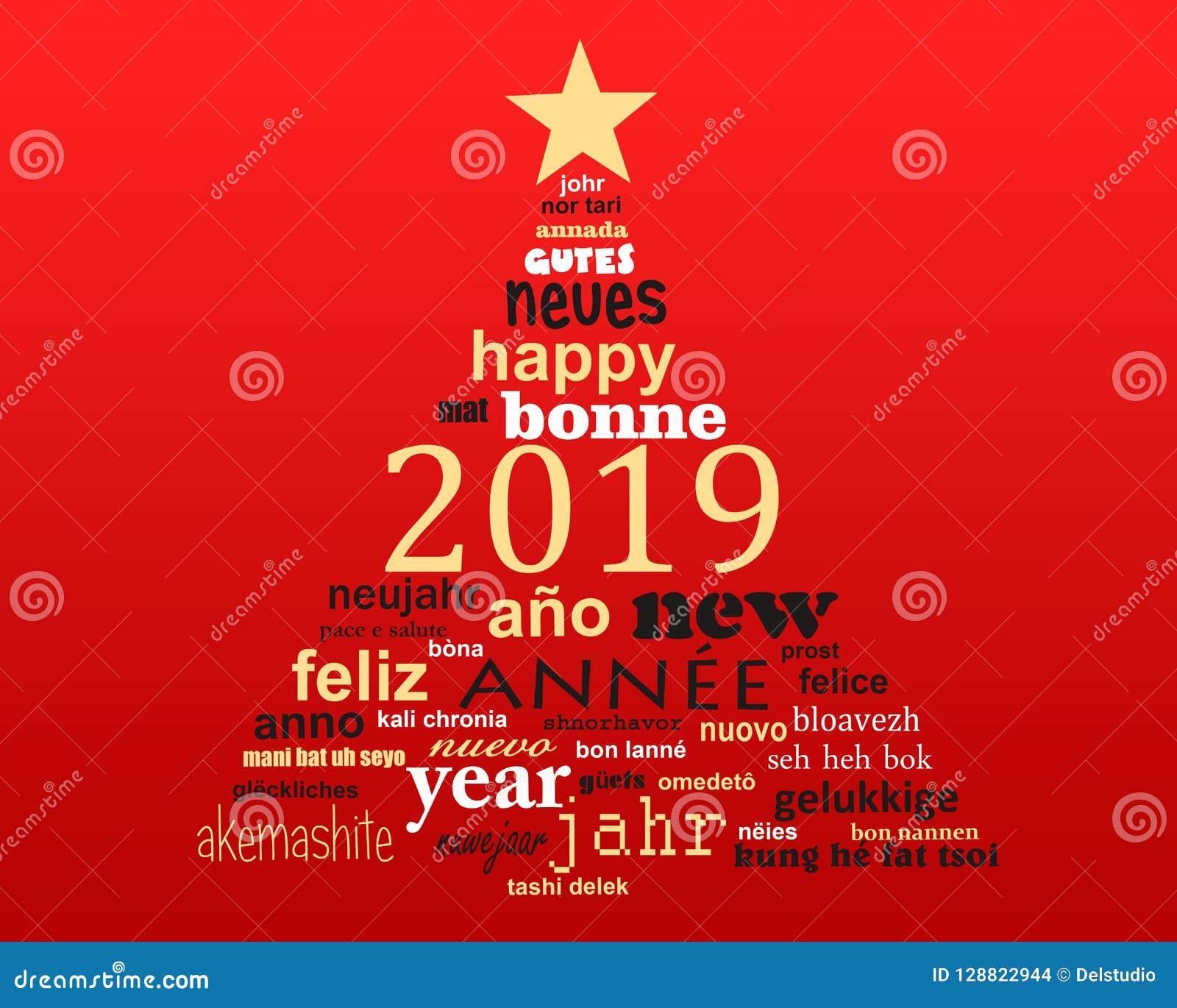 Tarjeta de felicitación multilingüe de la nube de la palabra del texto del Año Nuevo 2019 en forma de un árbol de navidad