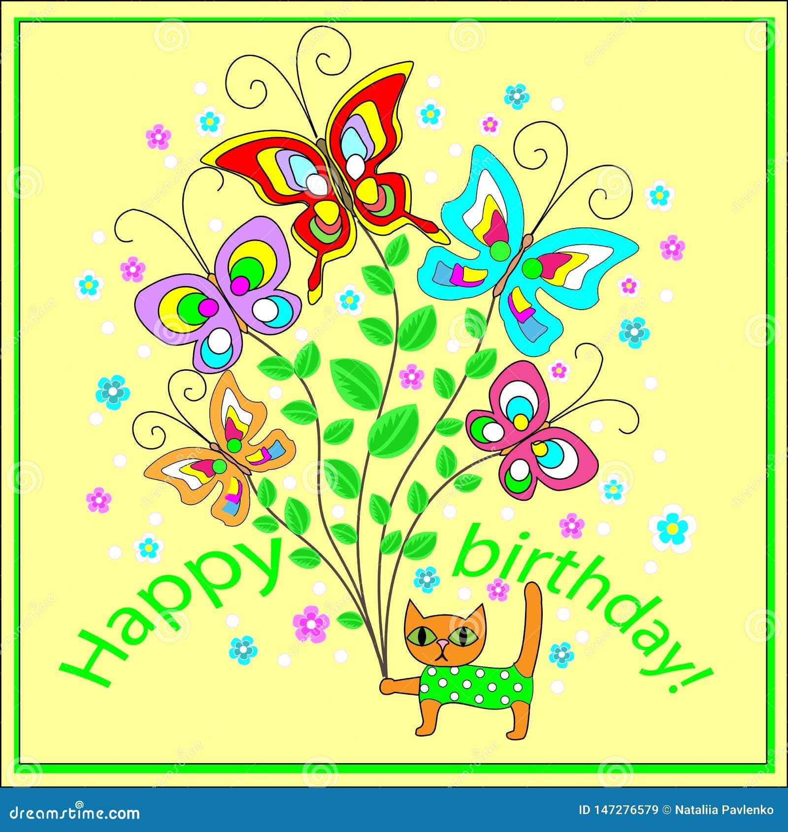 Tarjeta de felicitación original con un feliz cumpleaños Un ramo de felices mariposas que agitan, creando un humor festivo de una