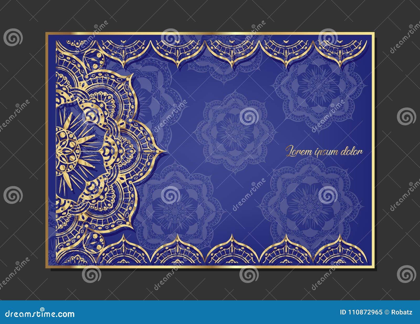 Tarjeta De Felicitación De Oro Del Vintage En Un Fondo Azul ...